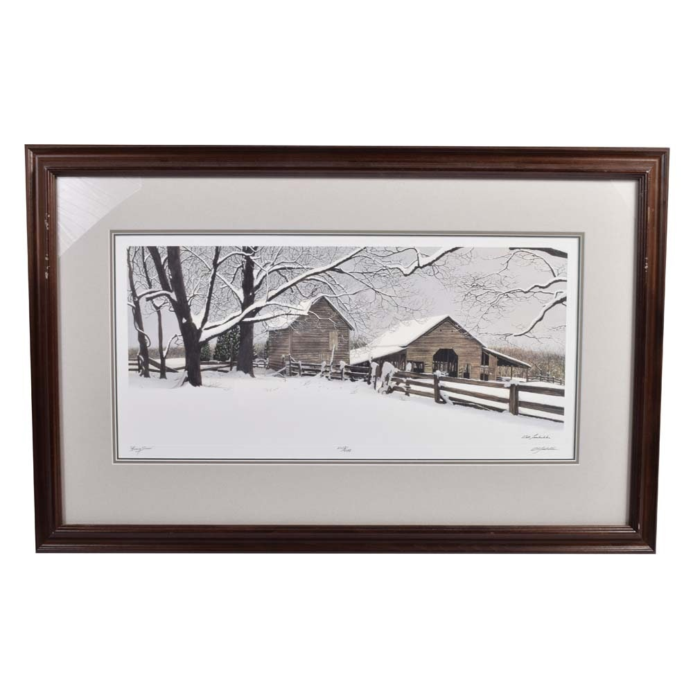 """After Bob Timberlake """"Heavy Snow"""" Limited Edition Offset Lithograph"""