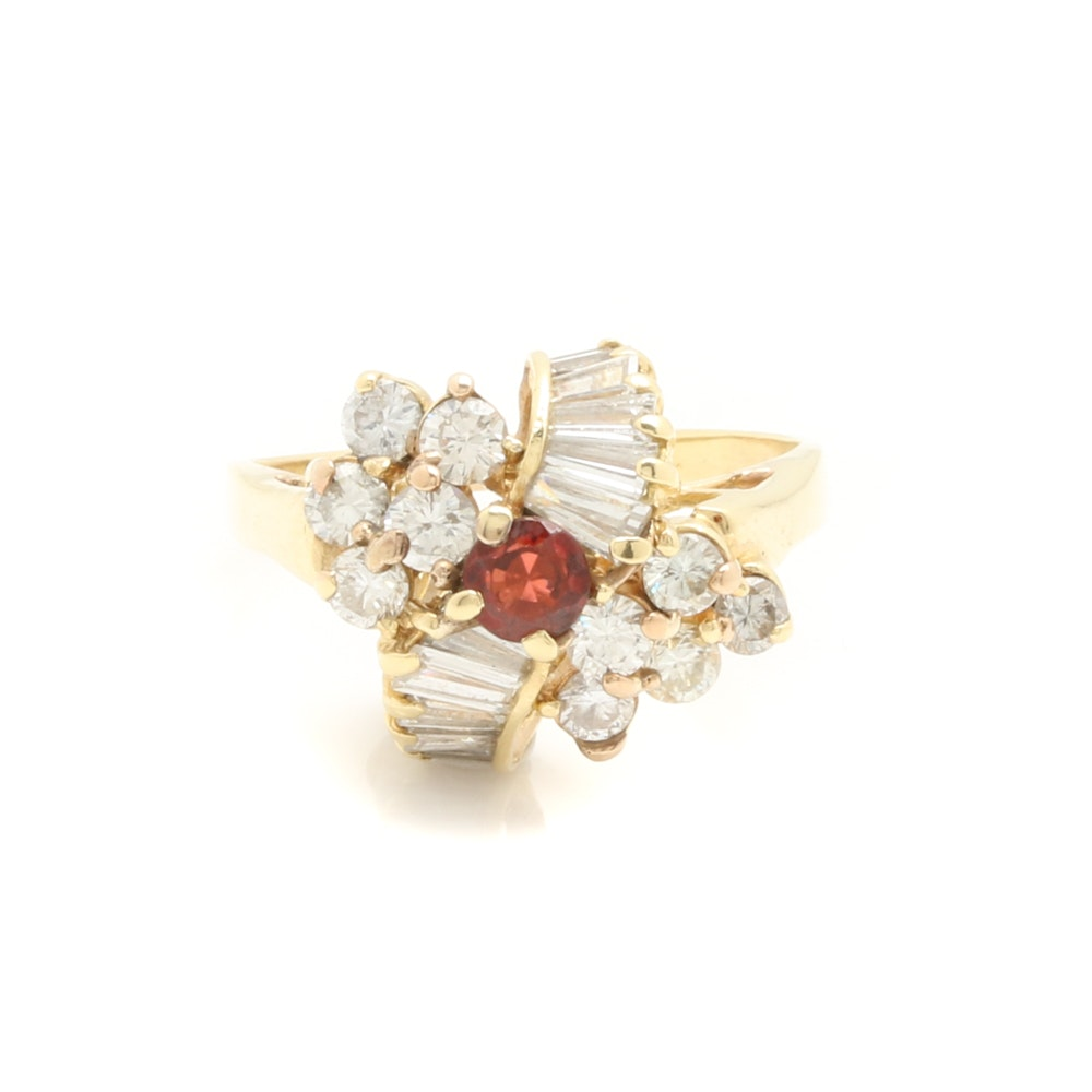 14K Yellow Gold Garnet and 1.74 CTW Diamond Ring