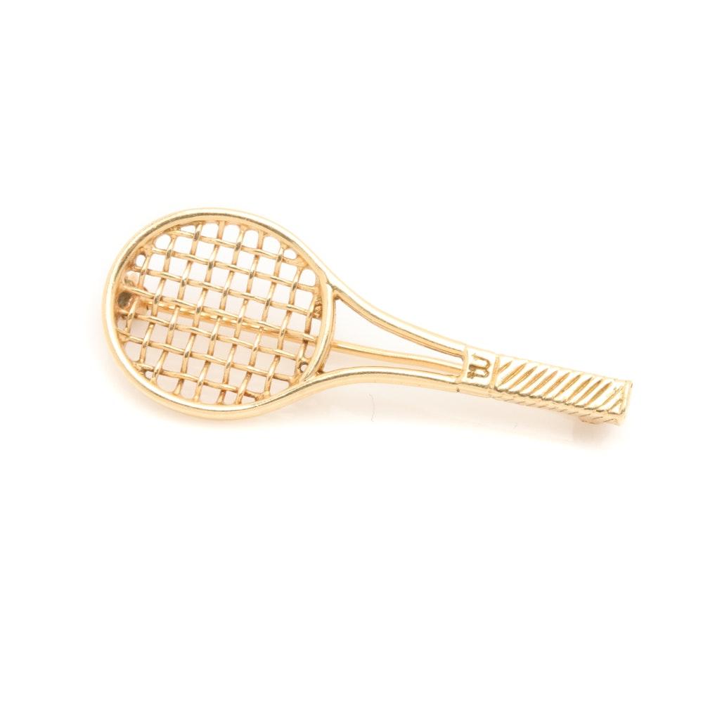 14K Yellow Gold Tennis Racquet Brooch