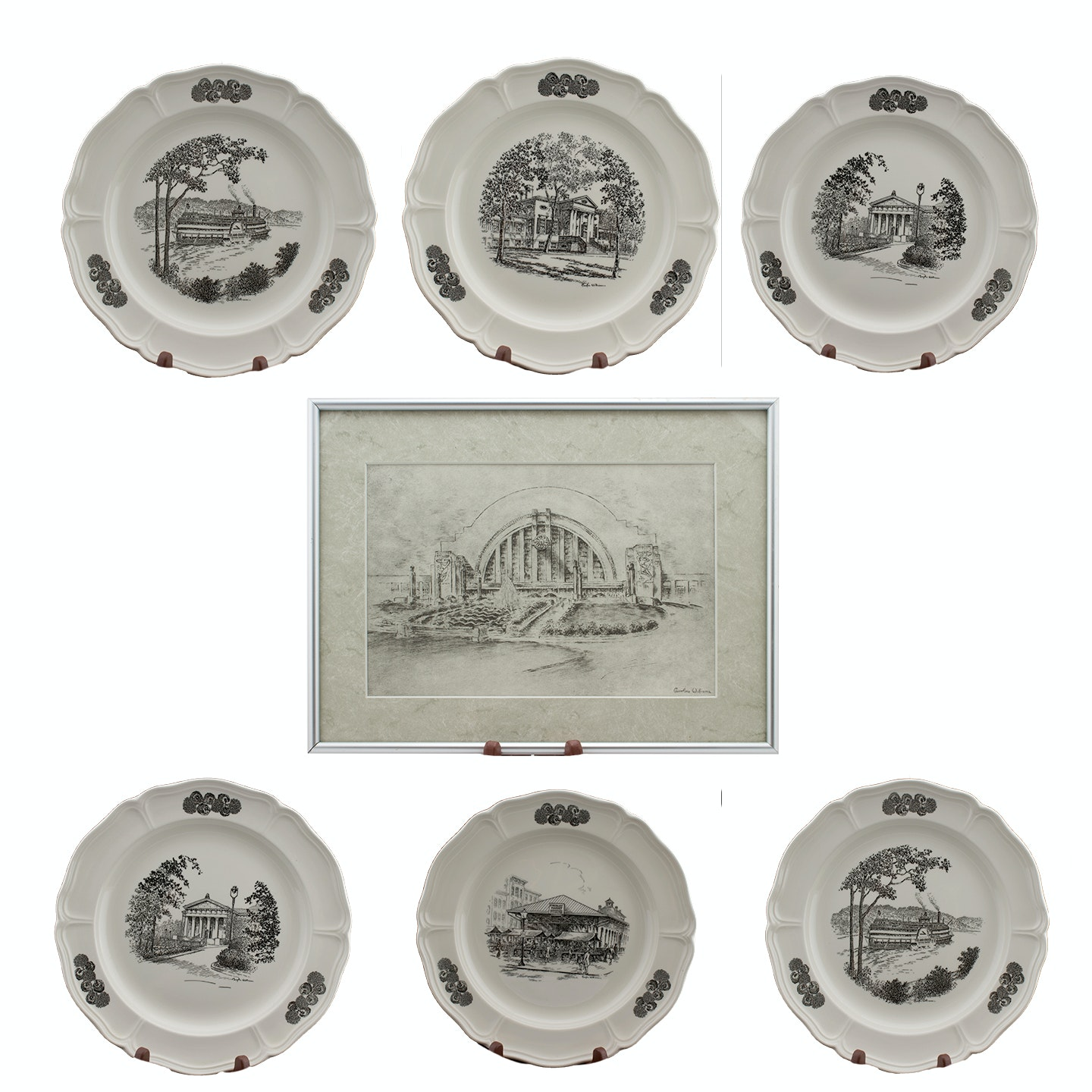 Six Caroline Williams Wedgwood Plates and Framed Offset Lithograph
