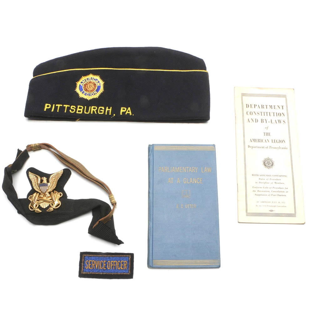 WWII U.S. Navy Badge With Hat Band and American Legion Memorabilia