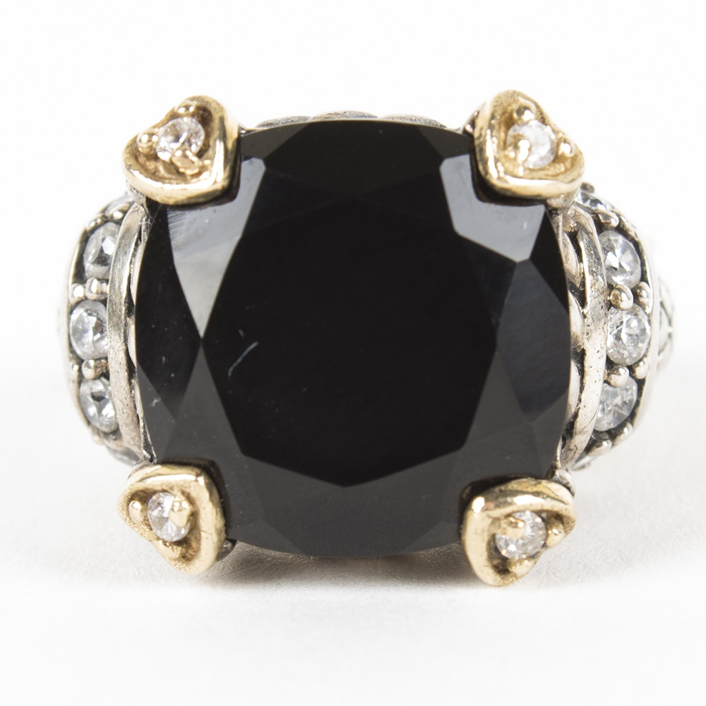 Sterling Silver and 14K Yellow Gold Onyx Ring