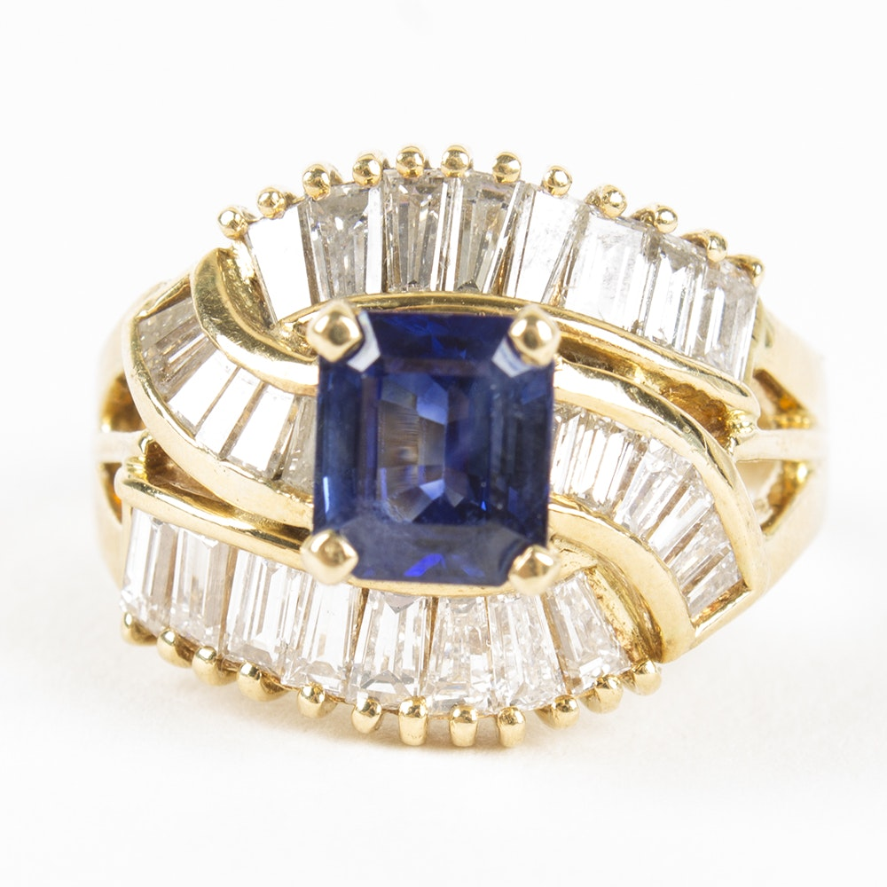18K Yellow Gold Tanzanite and 1.44 CTW Diamond Ring