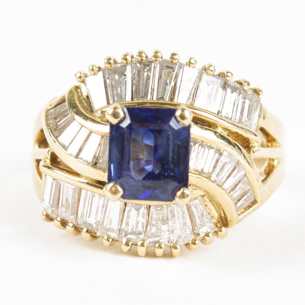 18K Yellow Gold Tanzanite and 1.44 CTW Diamond Ring