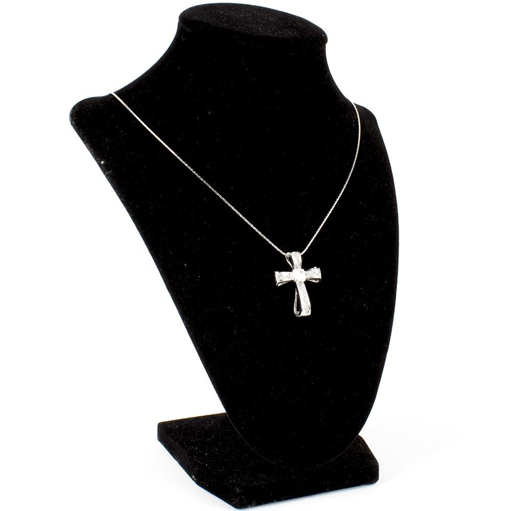 14K White Gold Diamond Ribbon Cross Pendant Necklace