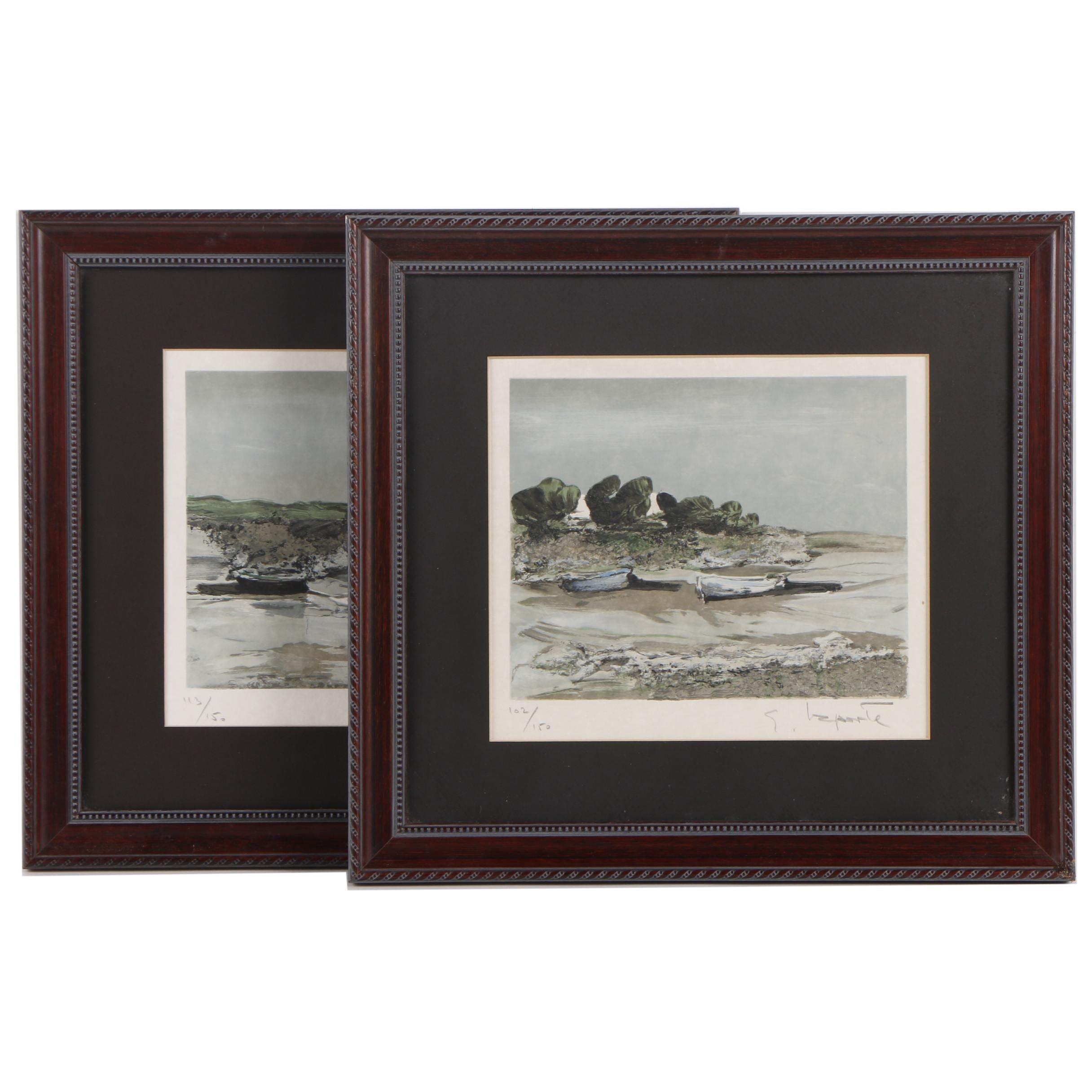 Georges Laporte Lithographs of Sea Shores