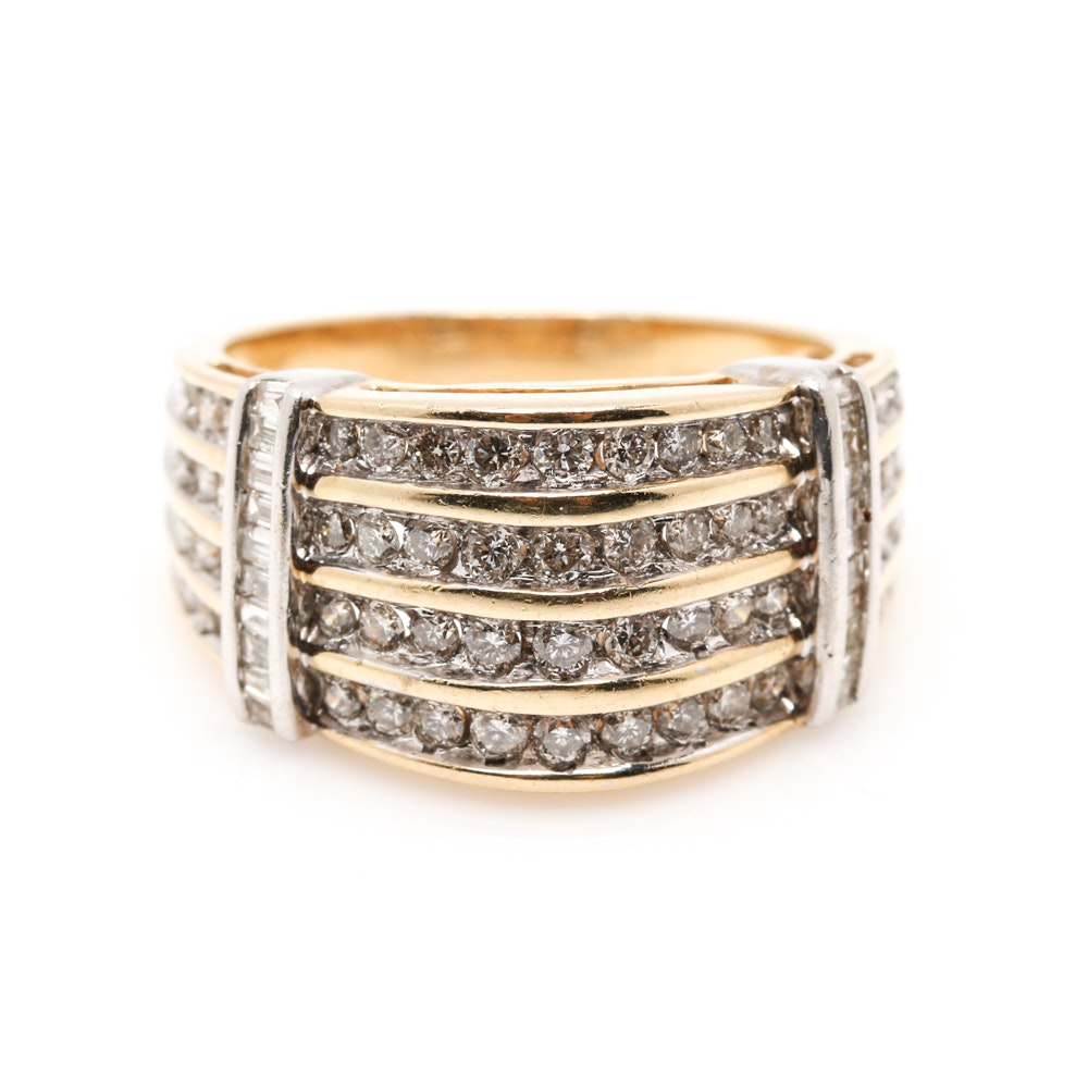 14K Two Tone Gold 1.05 CTW Diamond Ring