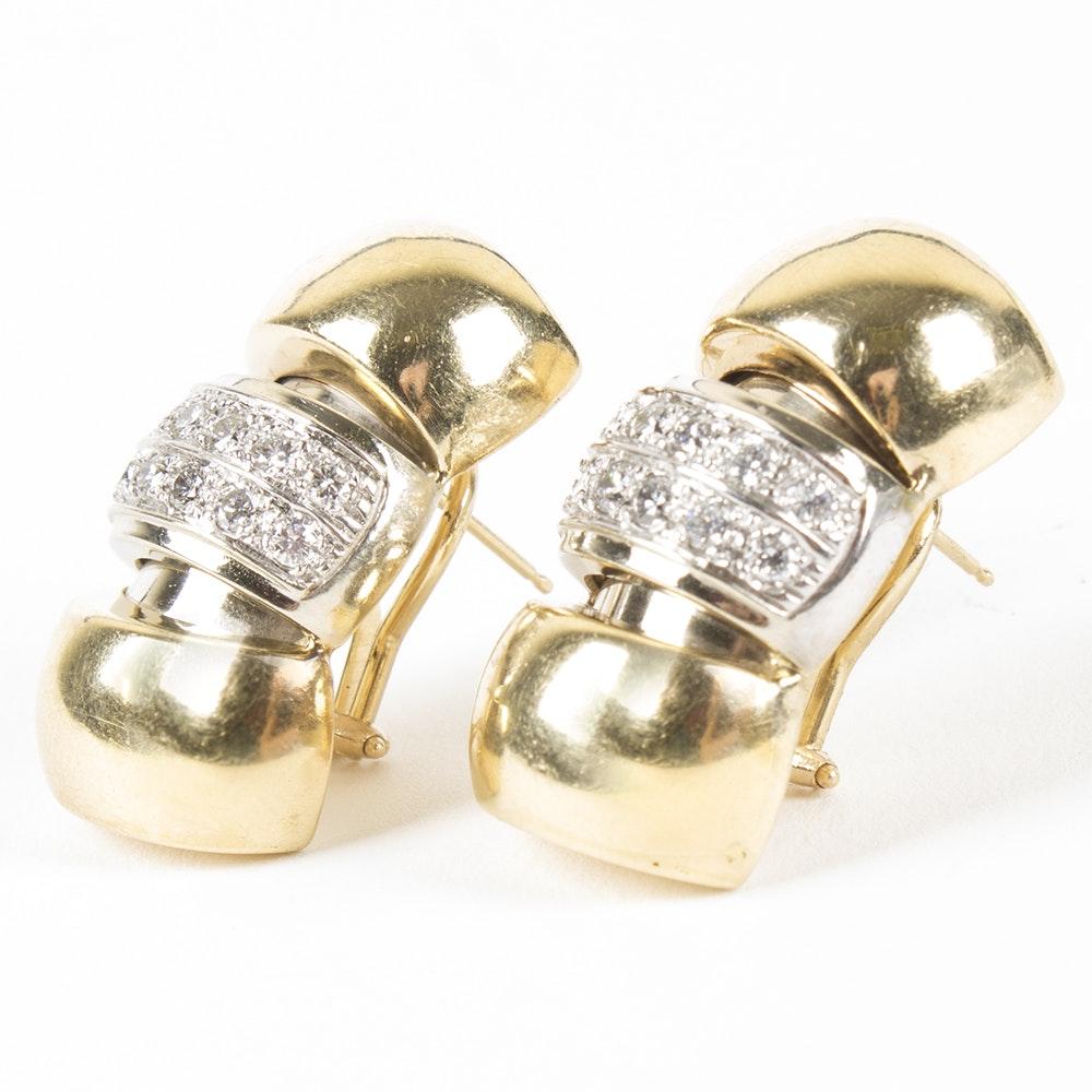 14K Yellow 1.10 CTW Diamond Earrings
