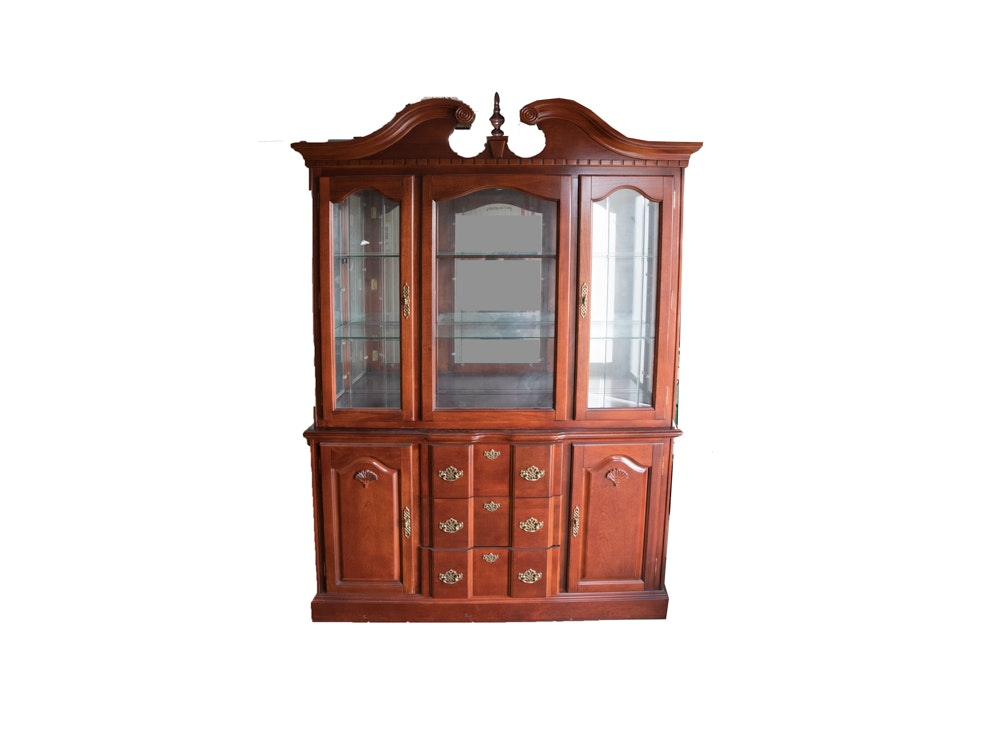 Colonial Style Maple China Cabinet