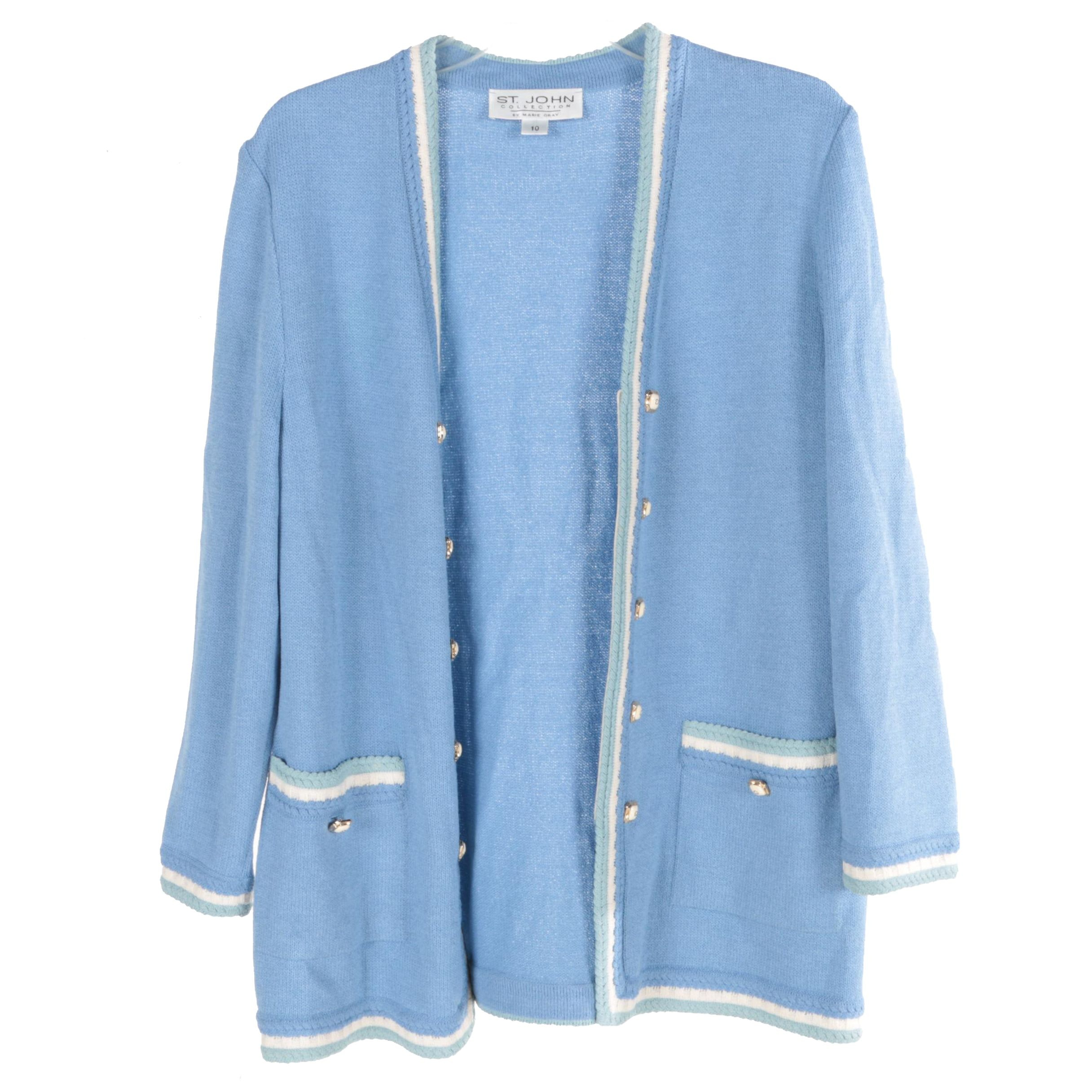 Women's St. John Collection by Marie Gray Blue Knit Cardigan