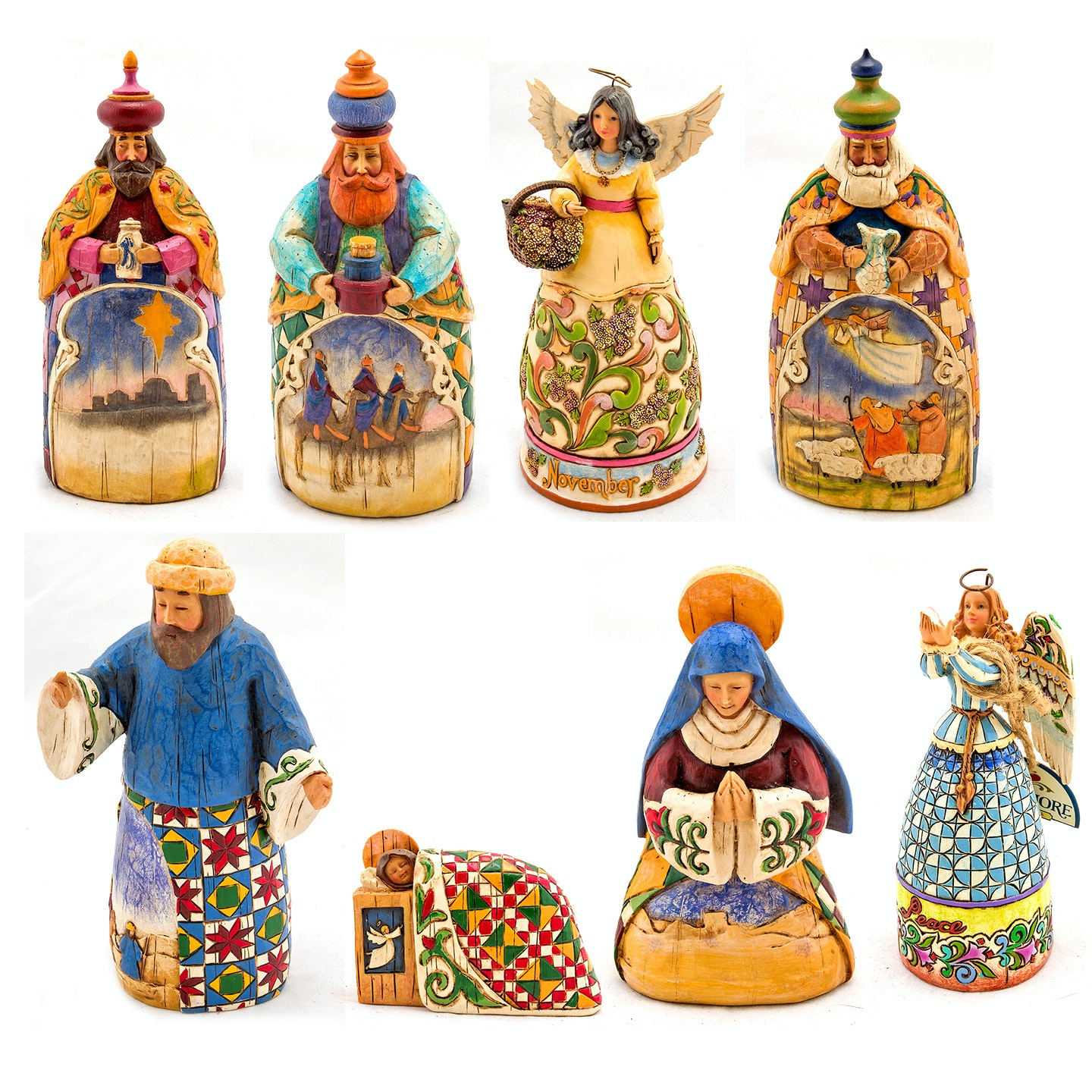 Jim Shore Nativity and Angel Figurines and Wall Plaque