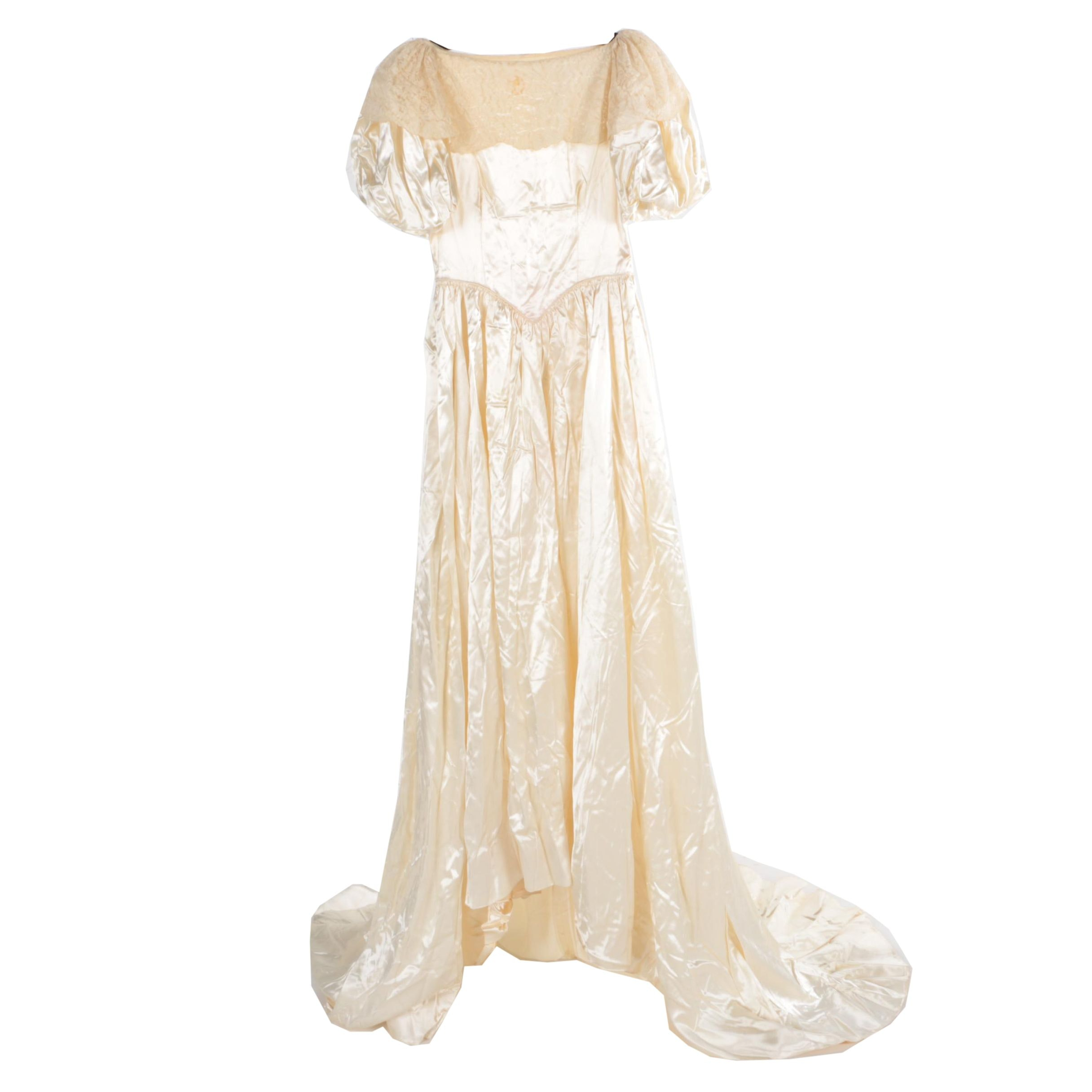 Vintage Circa 1940s Ivory Satin and Alençon Lace Wedding Dress