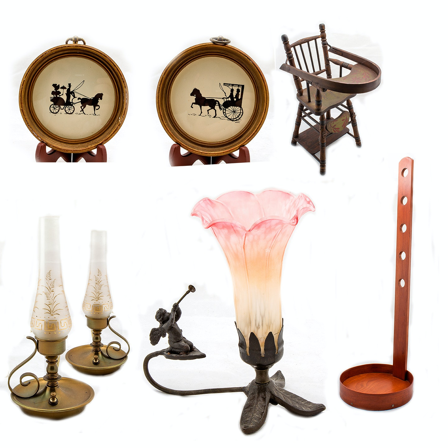 Vintage Table Lamps, High Chair and Decor