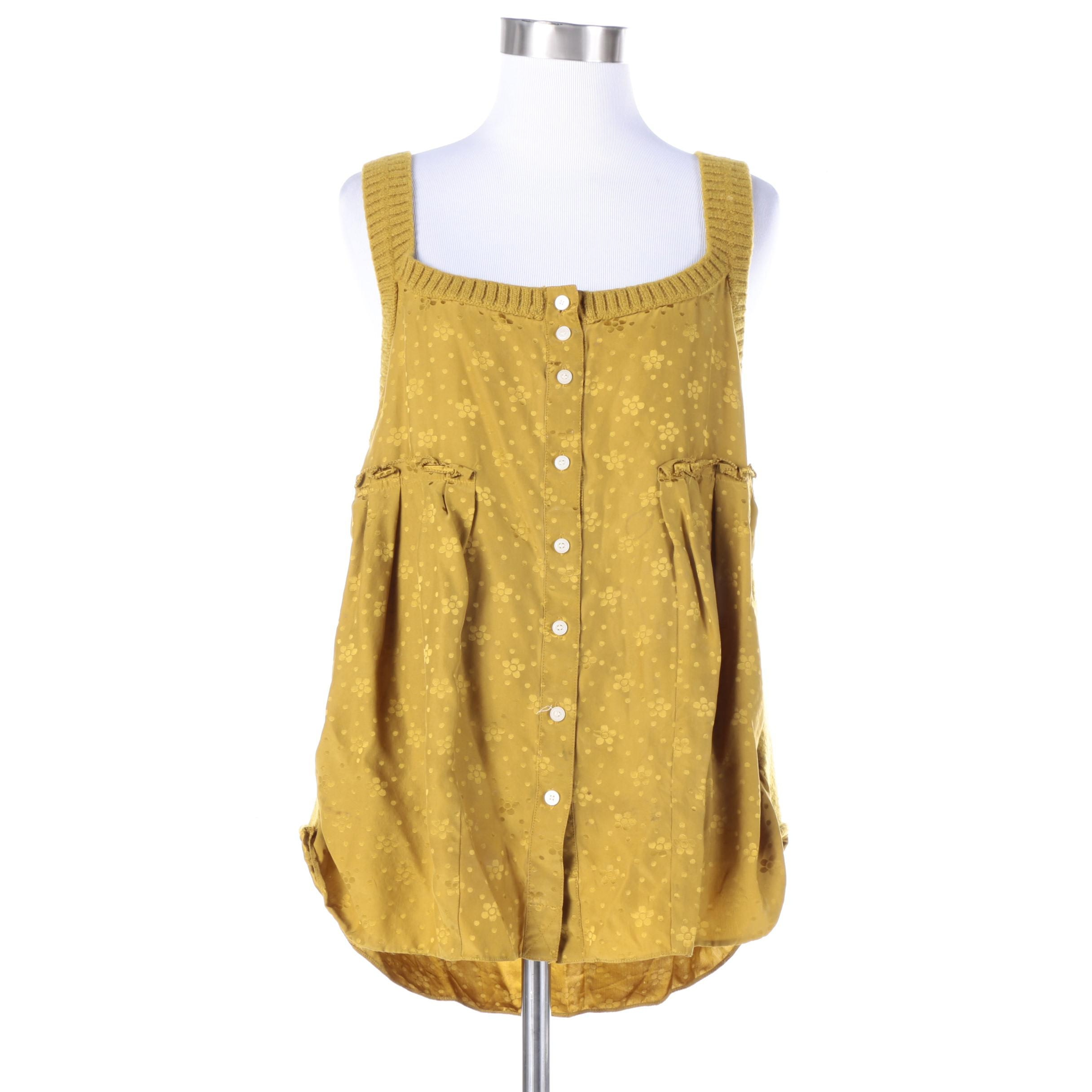 Marc by Marc Jacobs Silk and Knit Sleeveless Tank