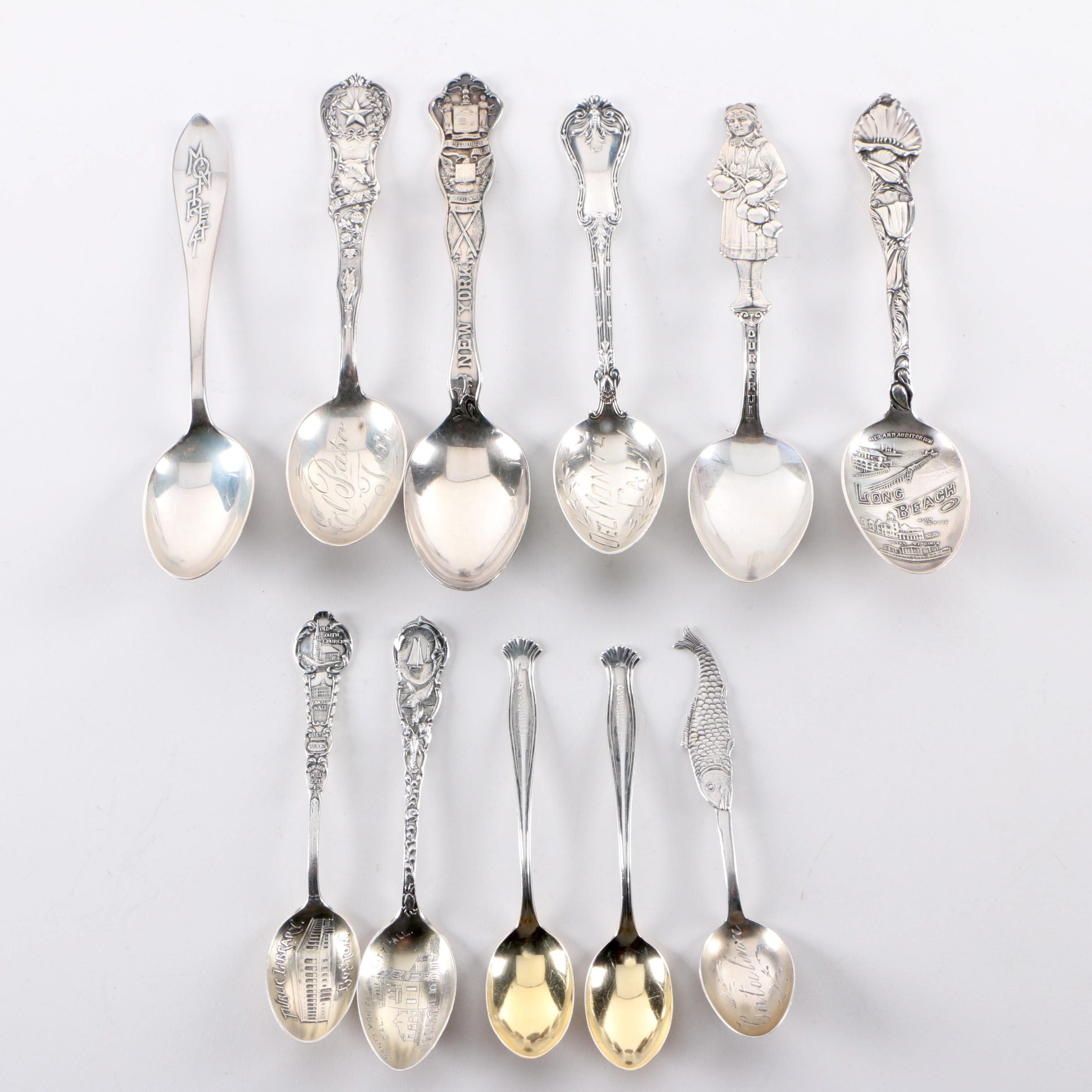 Gorham and Other Sterling Silver Souvenir Spoons with Silver-Plated Spoon