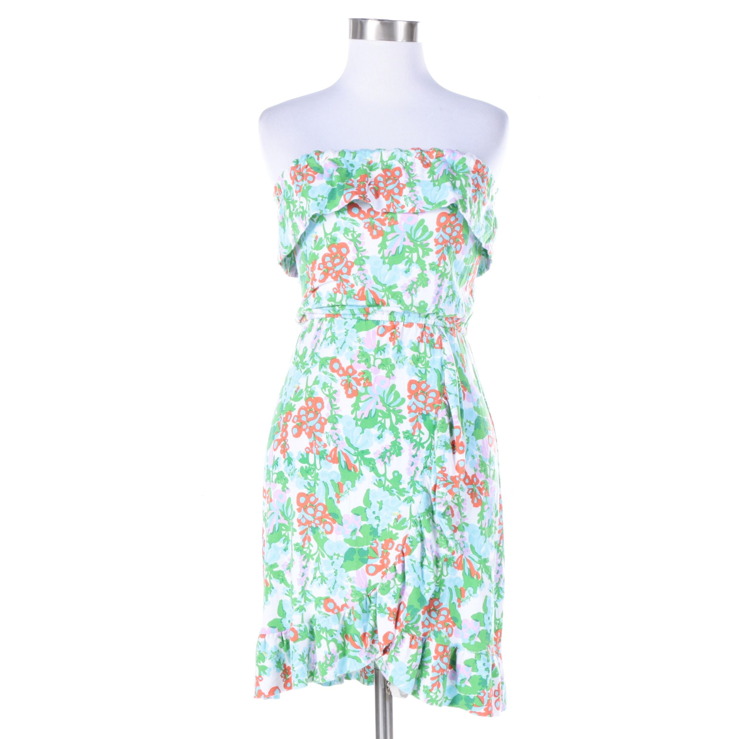 Lilly Pulitzer Floral Print Strapless Dress