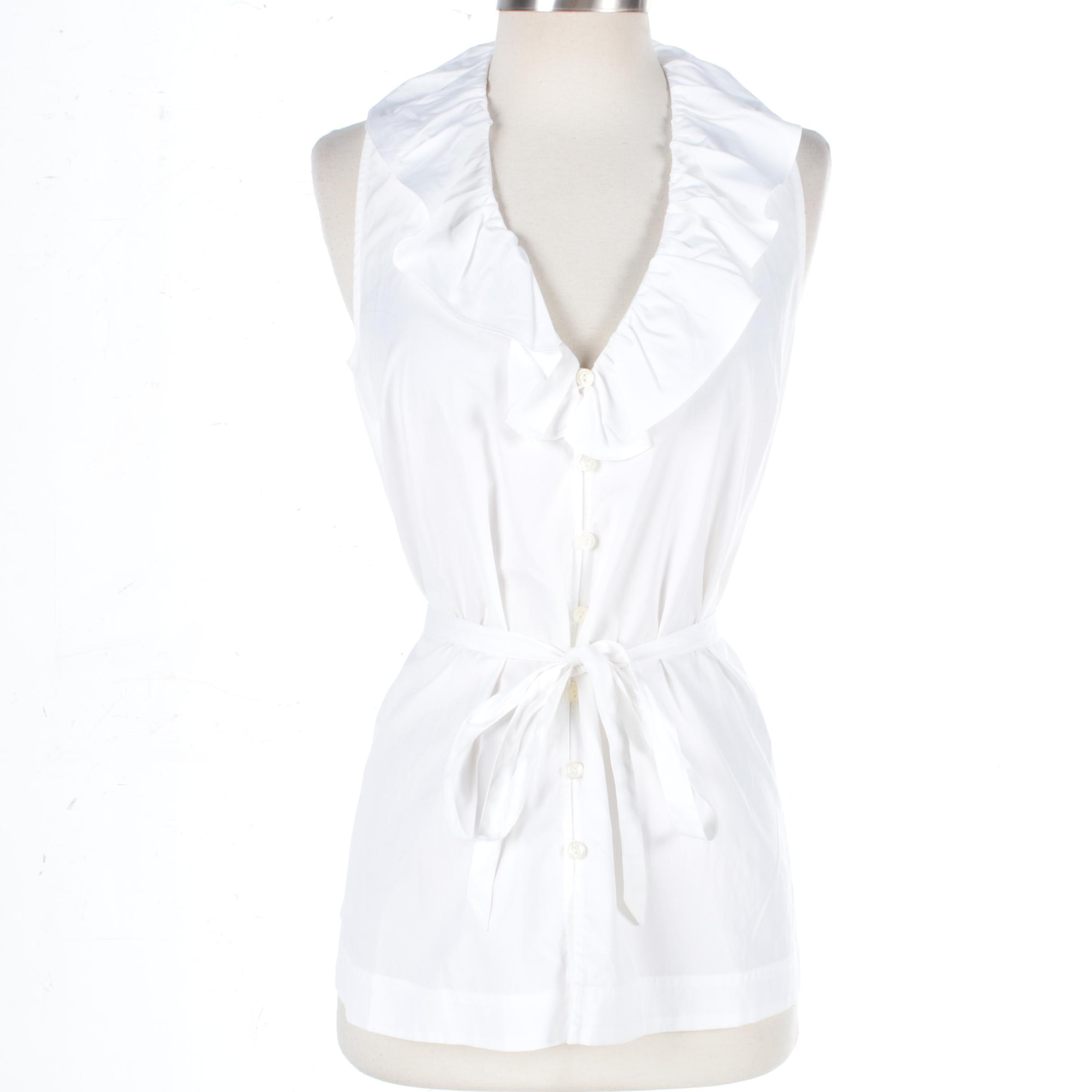 Ralph Lauren Jeans White Cotton Sleeveless Shirt