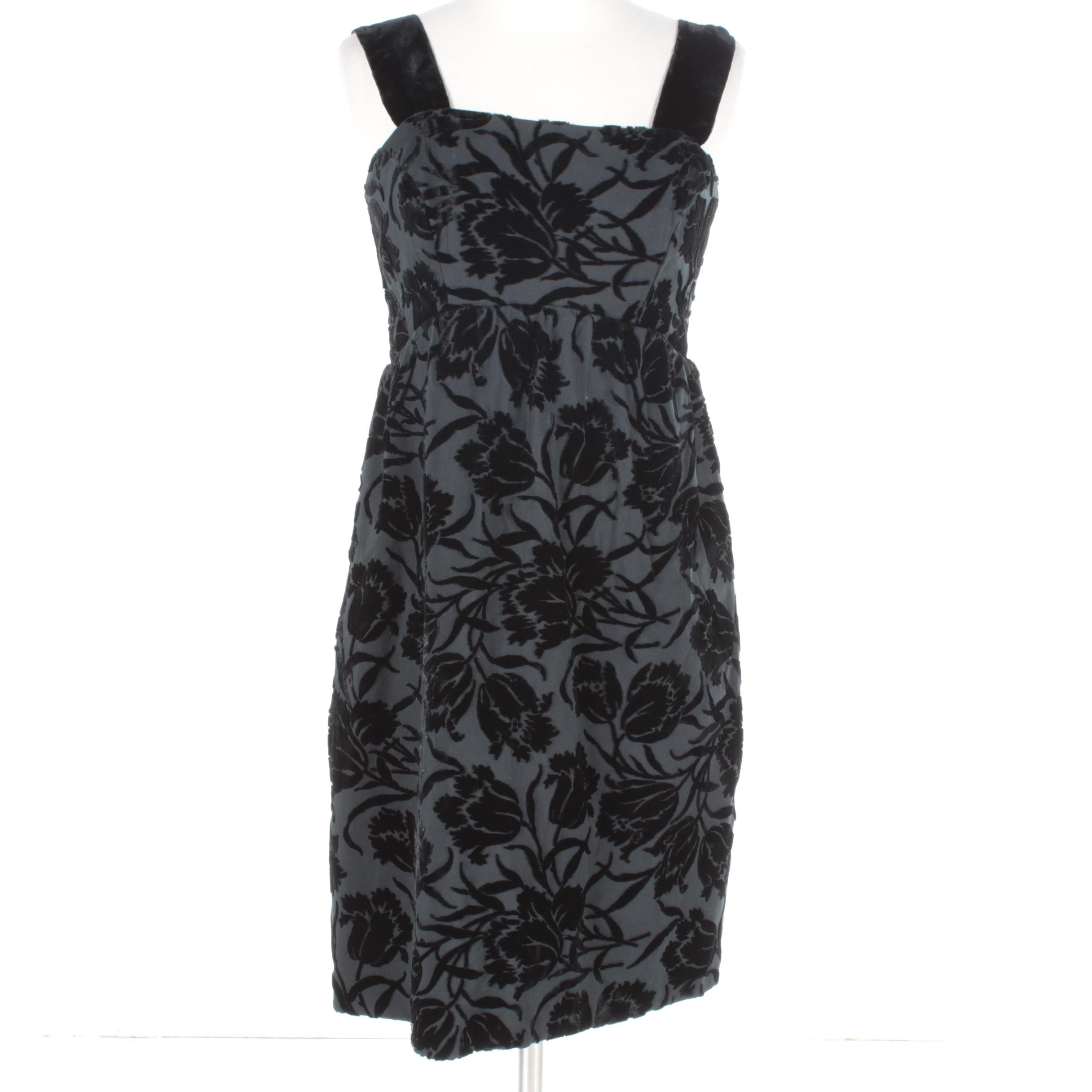 Flocked Floral Black Velvet Sleeveless Cocktail Dress