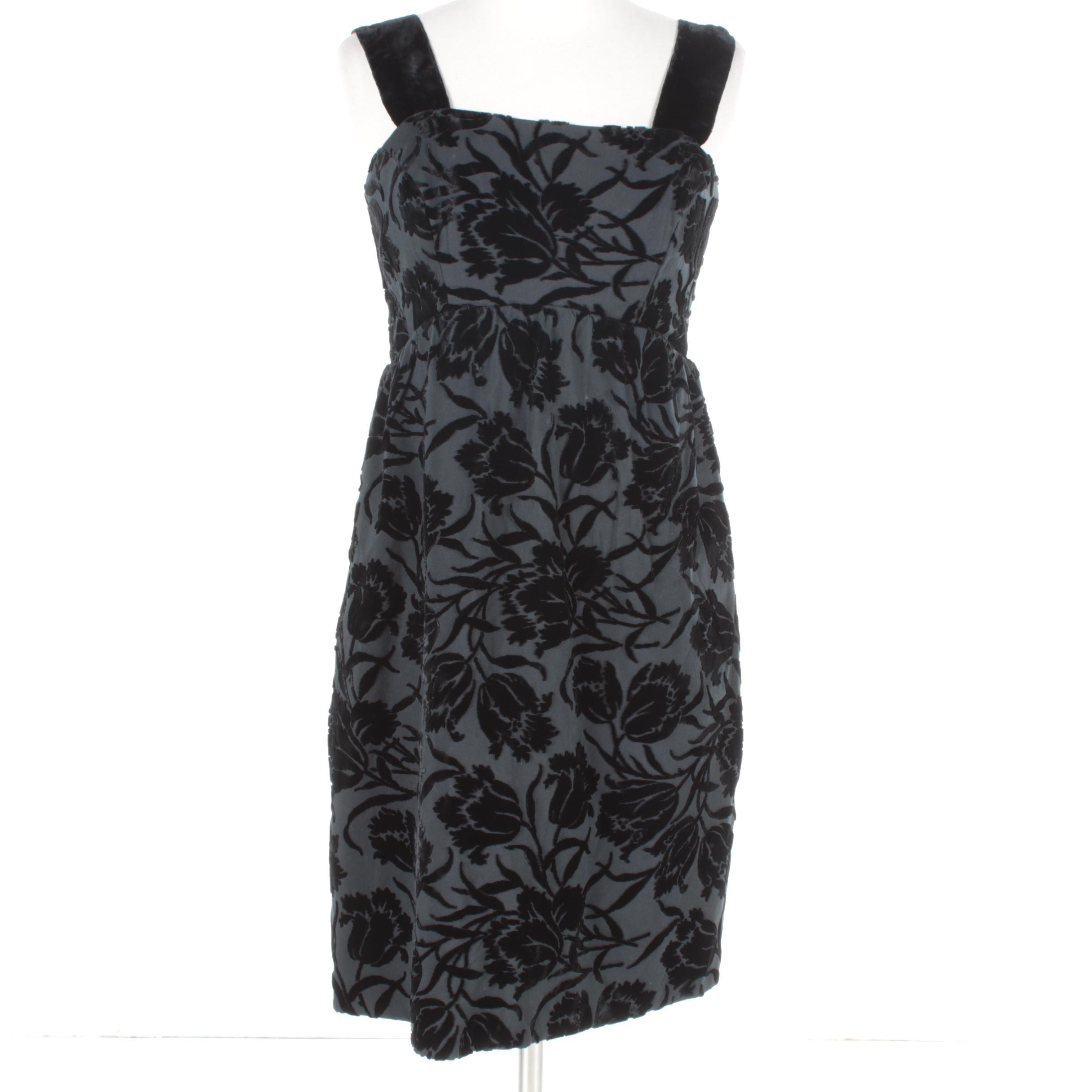Flocked Floral Black Velvet Sleeveless Cocktail Dress