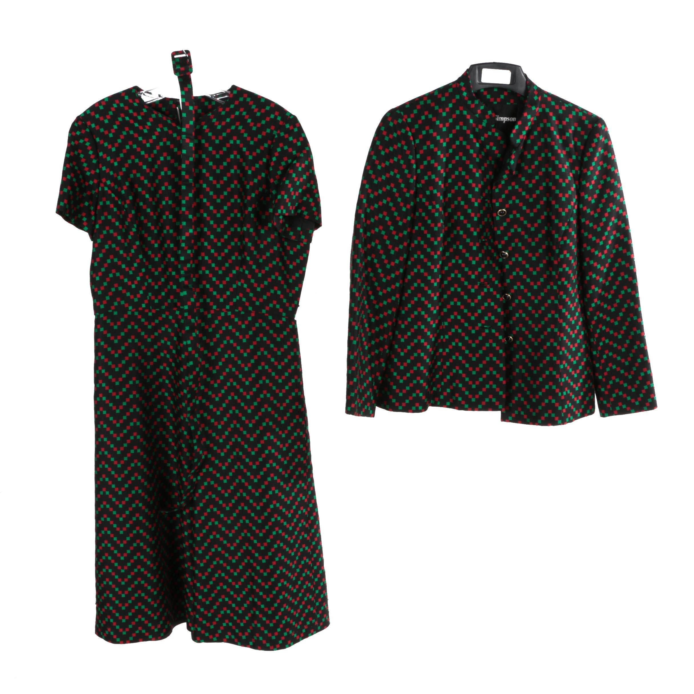 Vintage Adele Simpson Printed Dress Suit