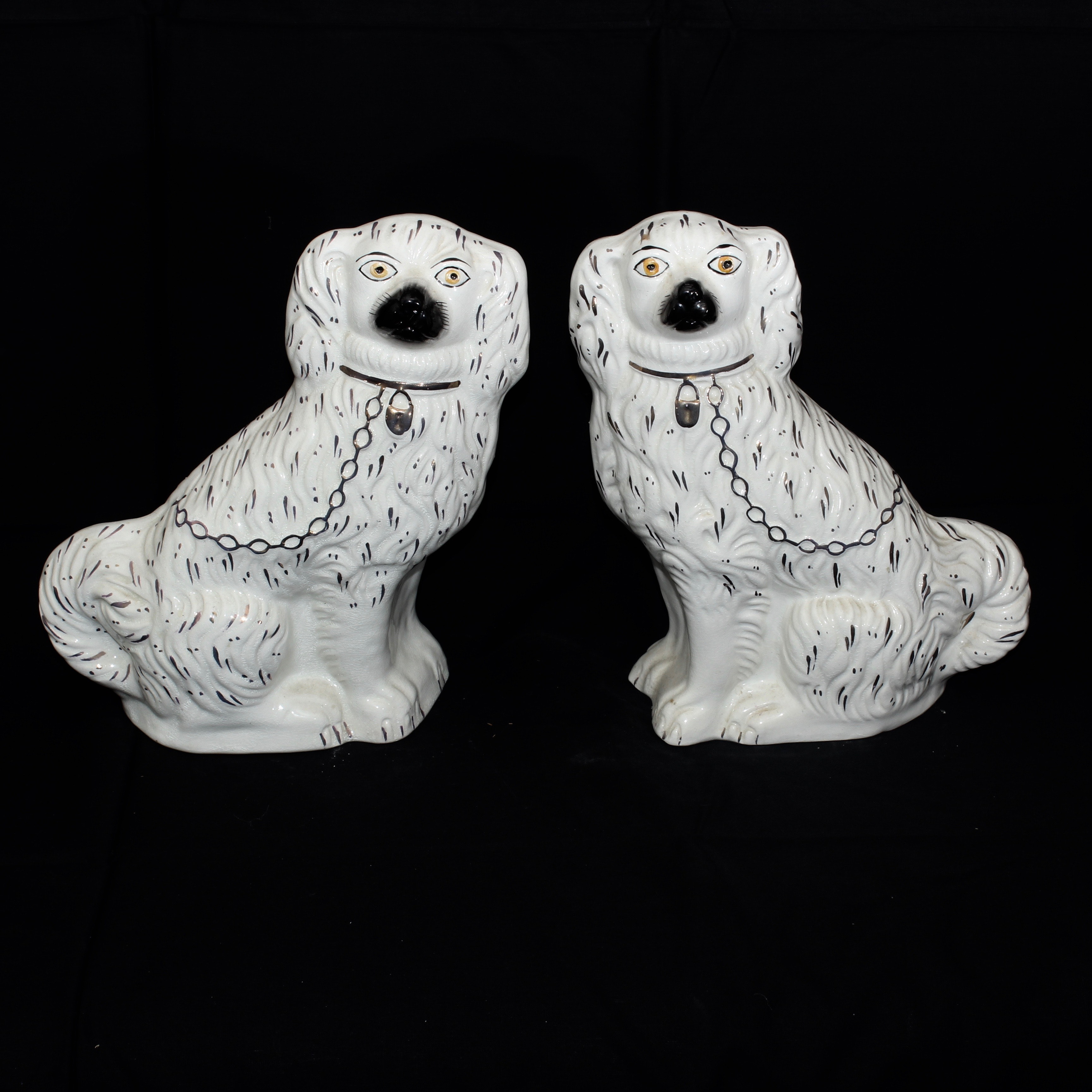Vintage Staffordshire Style Porcelain Dogs