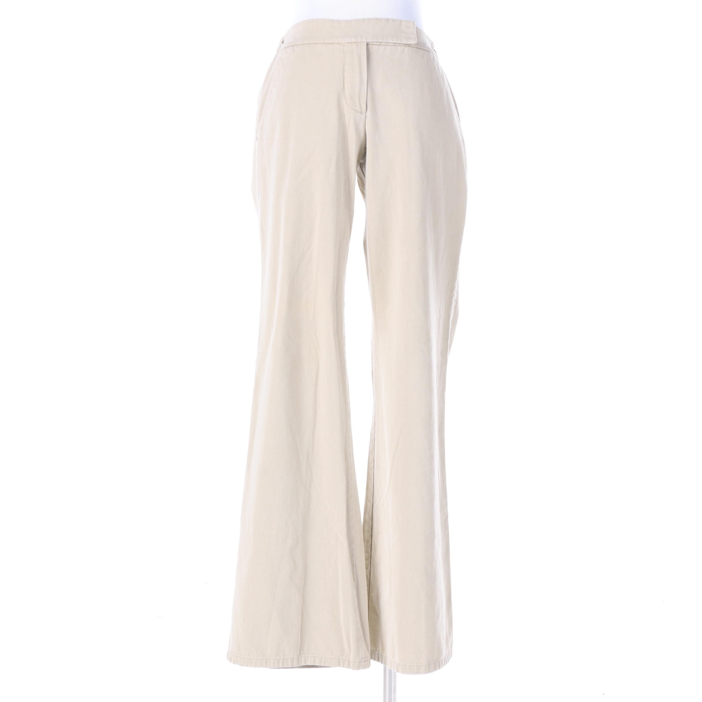 Women's Theory Khaki Cotton Pants