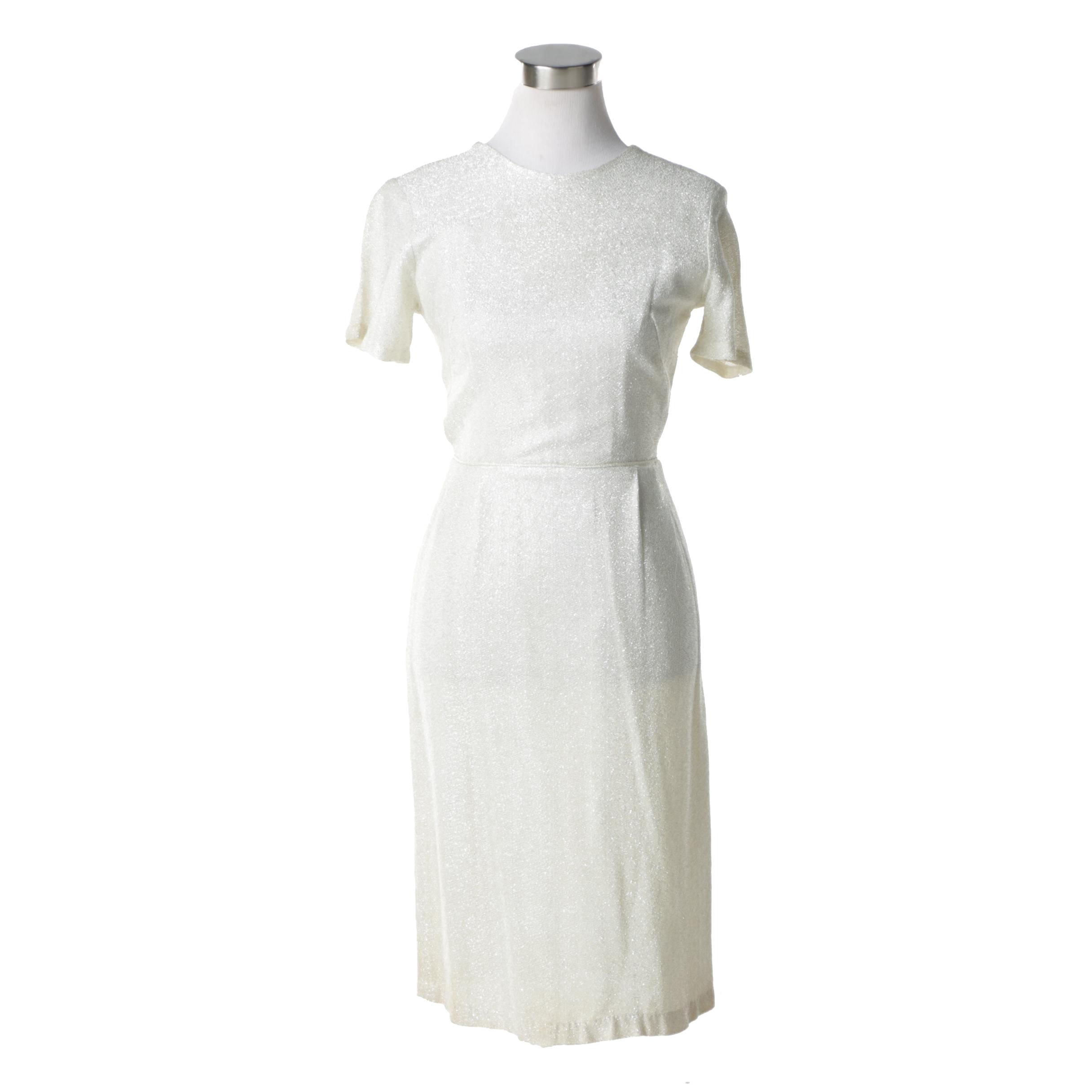 Vintage White and Metallic Silver Lurex Dress
