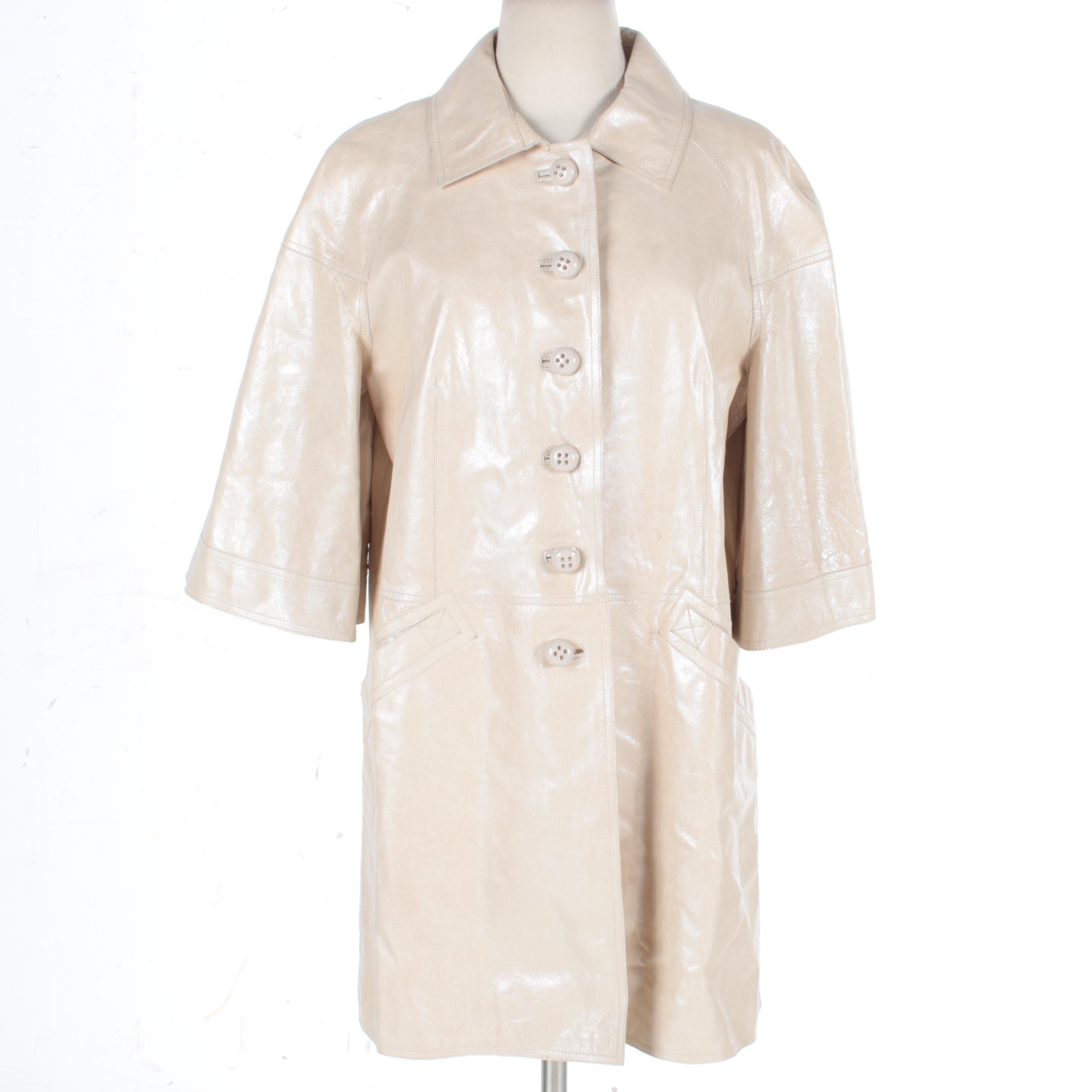 Women's Per Se Cream Leather Jacket