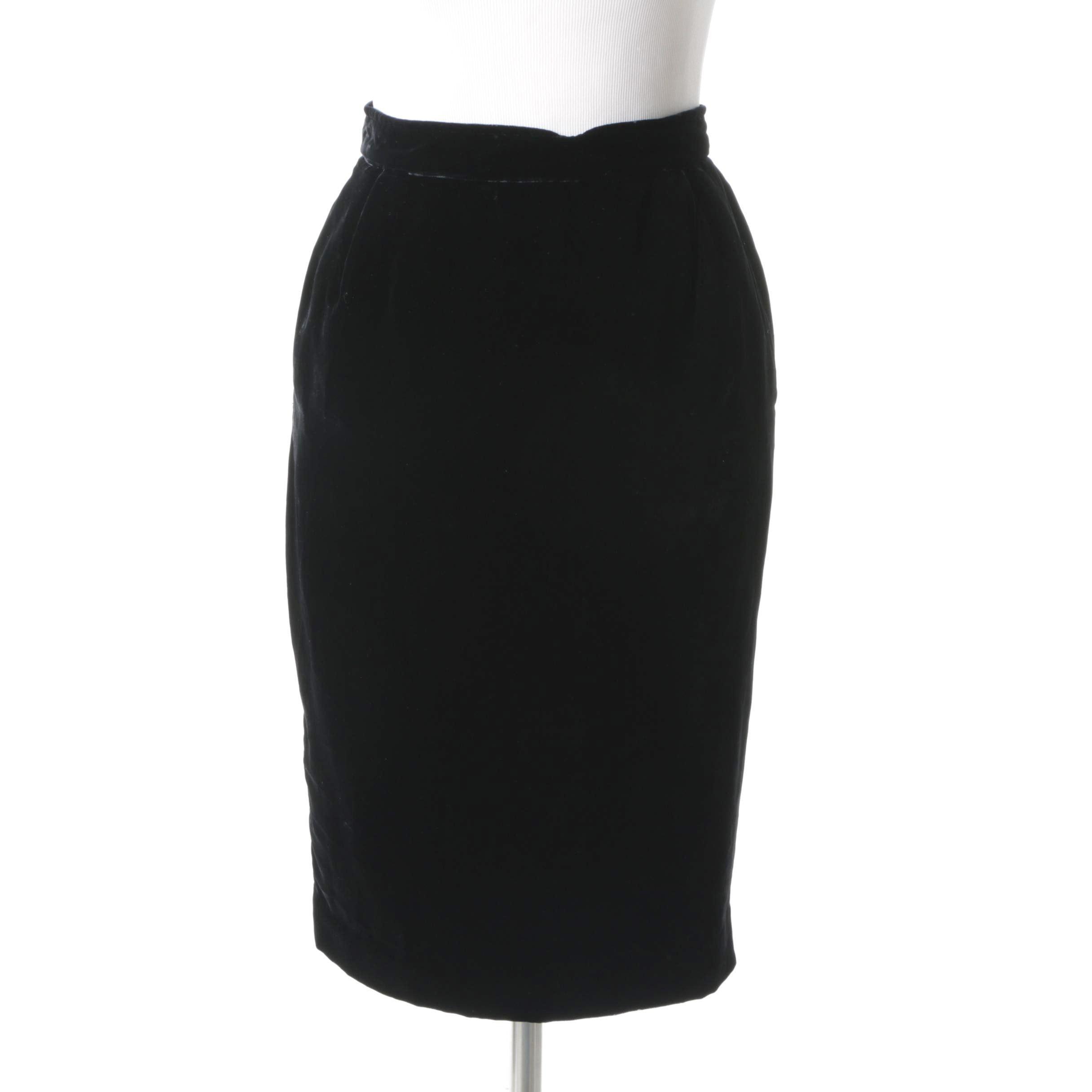 Vintage Ungaro Parallele Black Velvet Skirt
