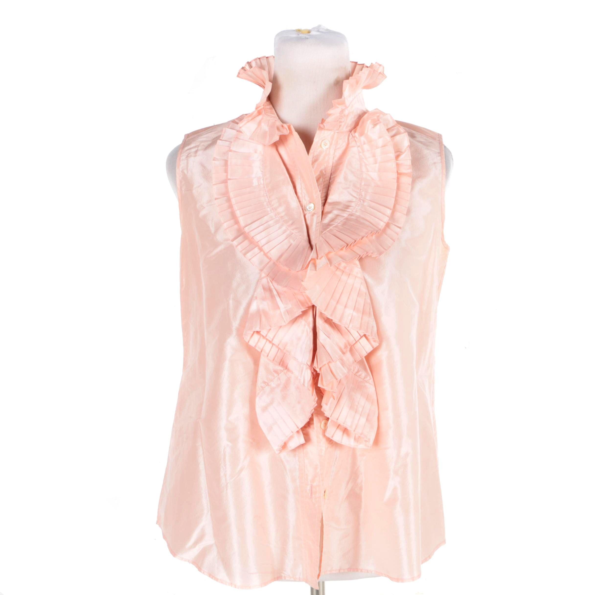 Oscar de la Renta Pink Silk Ruffle Sleeveless Blouse