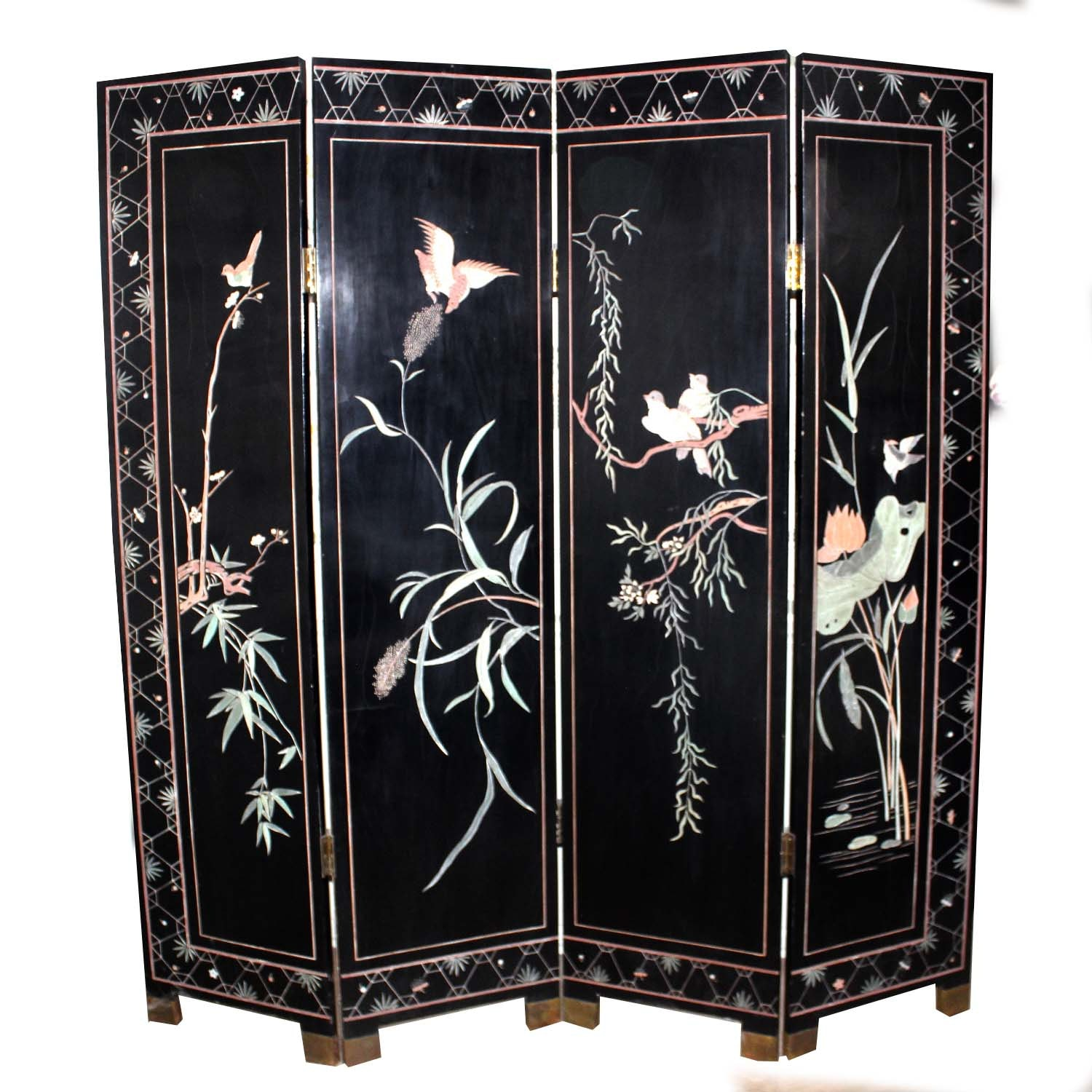 Vintage Chinese Hand Painted Room Divider