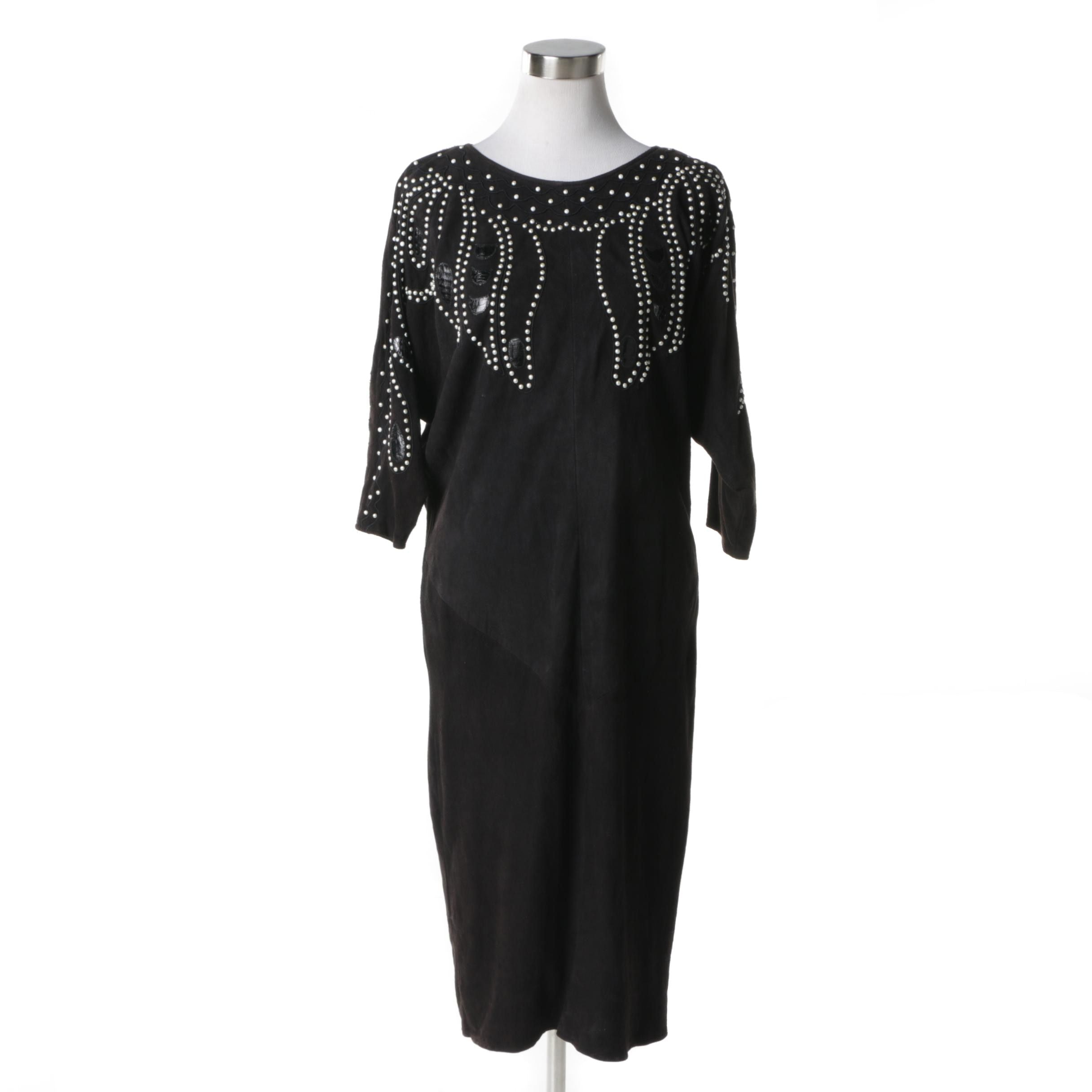 Shalmay Embellished Black Suede and Leather Dress