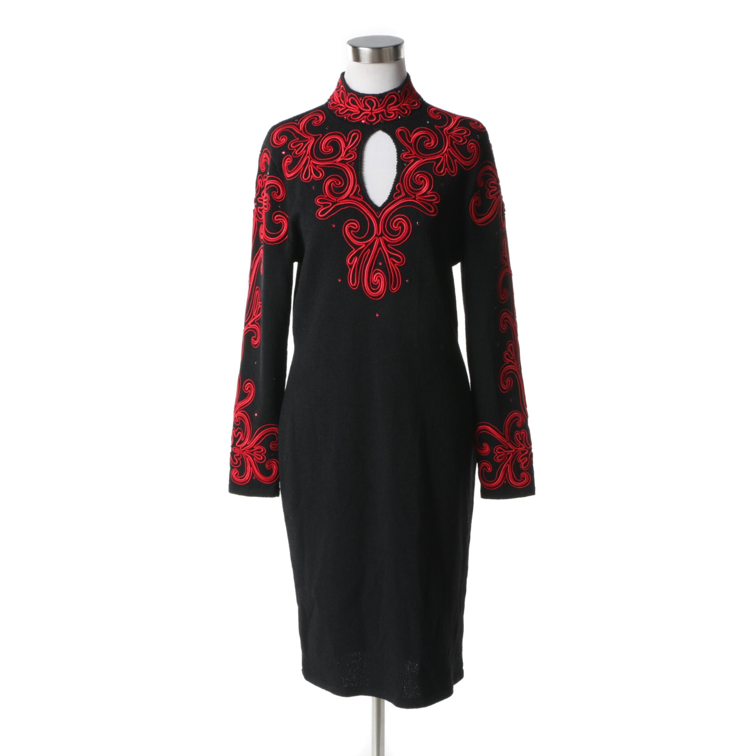 Lillie Rubin Red Soutache Black Knit Dress with Prong Set Red Rhinestones