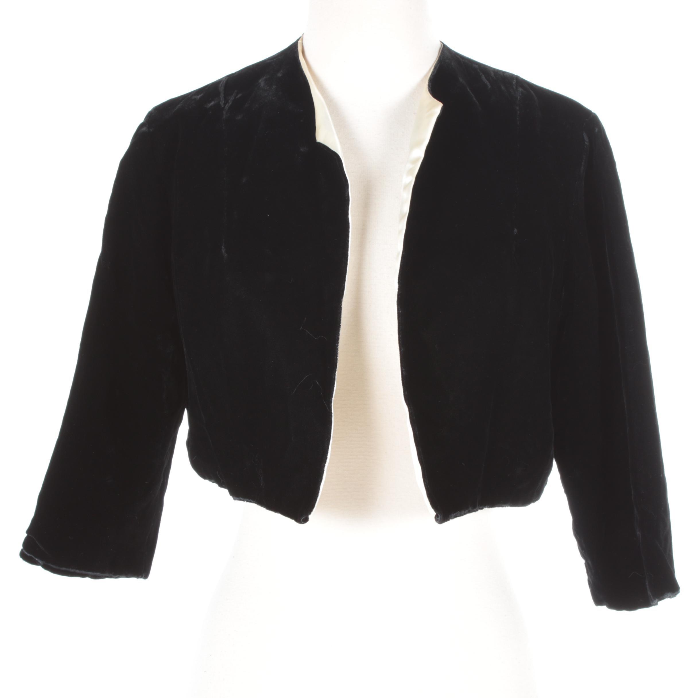 Women's Vintage Black Velvet Bolero Jacket