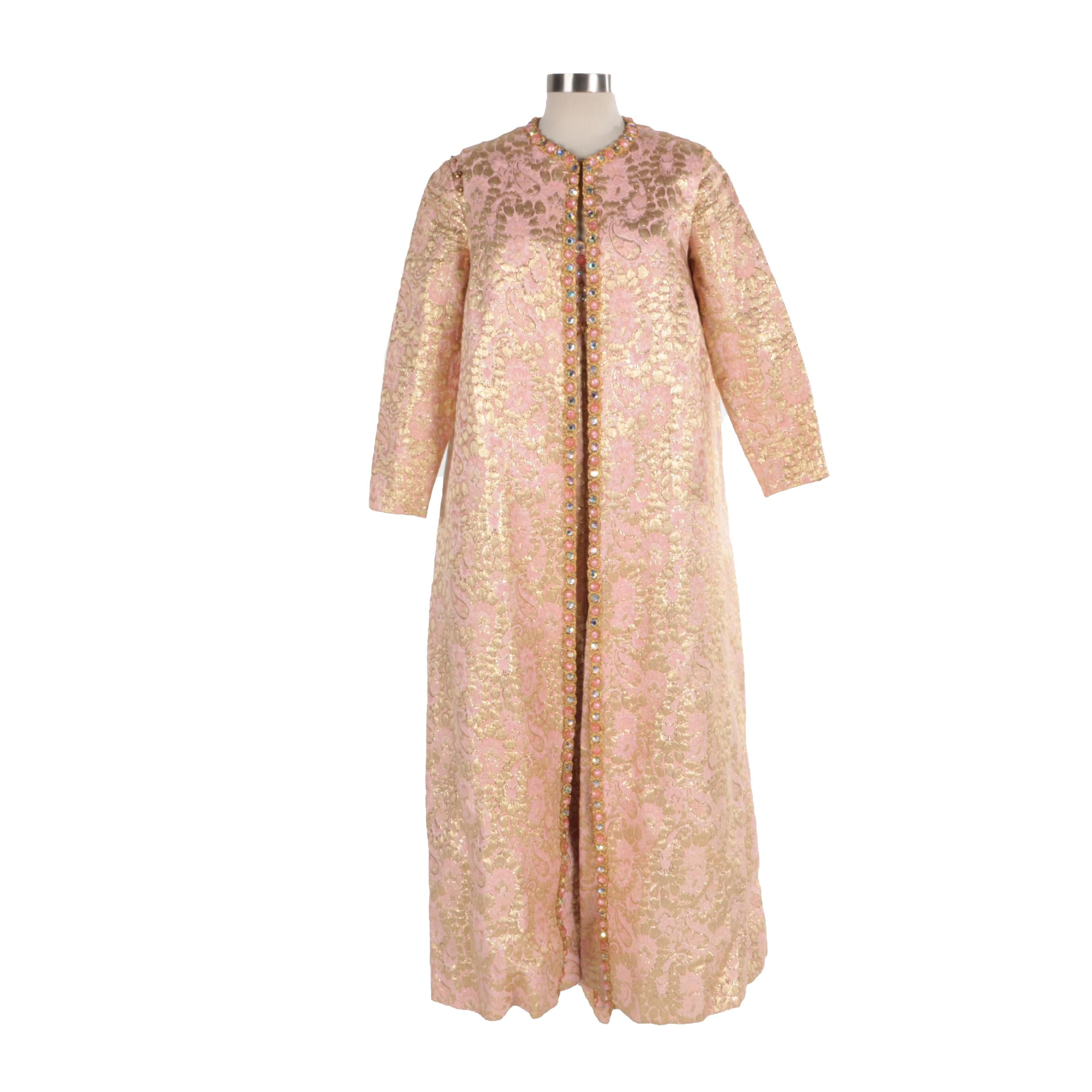 Vintage Mignon Pink and Gold Lurex Brocade Dress and Matching Duster