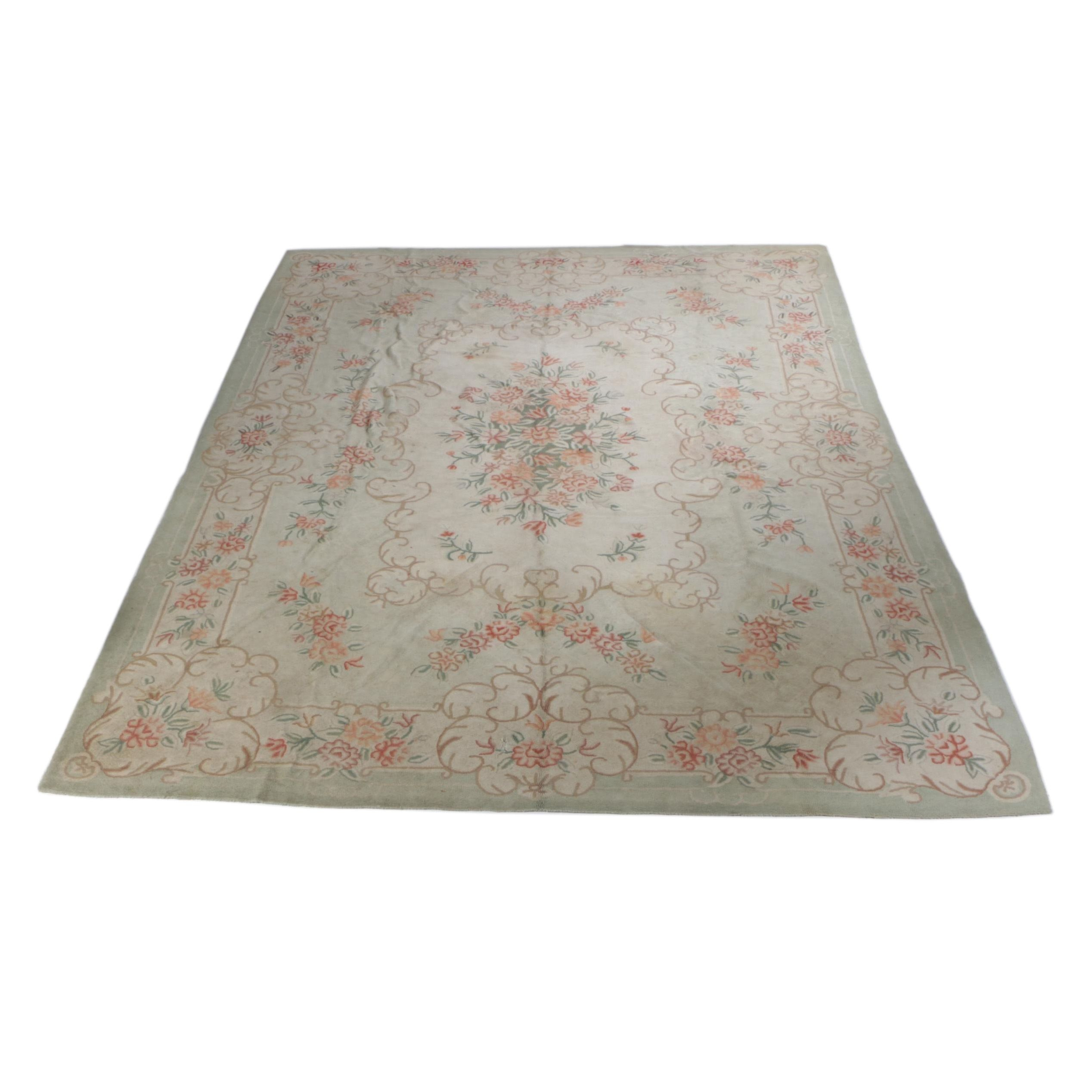 Aubusson Style Hooked Room Size Rug
