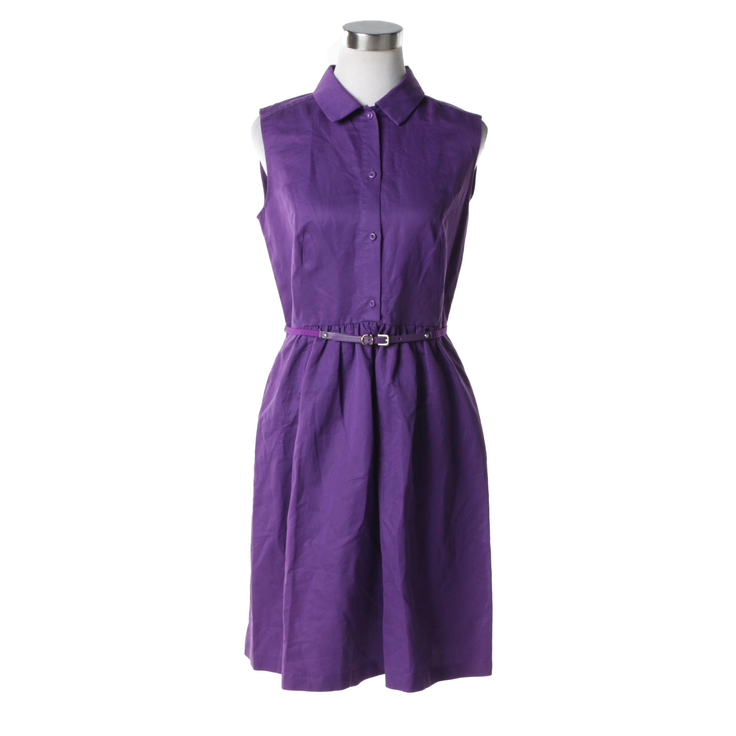 Max Mara Studio Purple Cotton Sleeveless Shirtwaist Dress