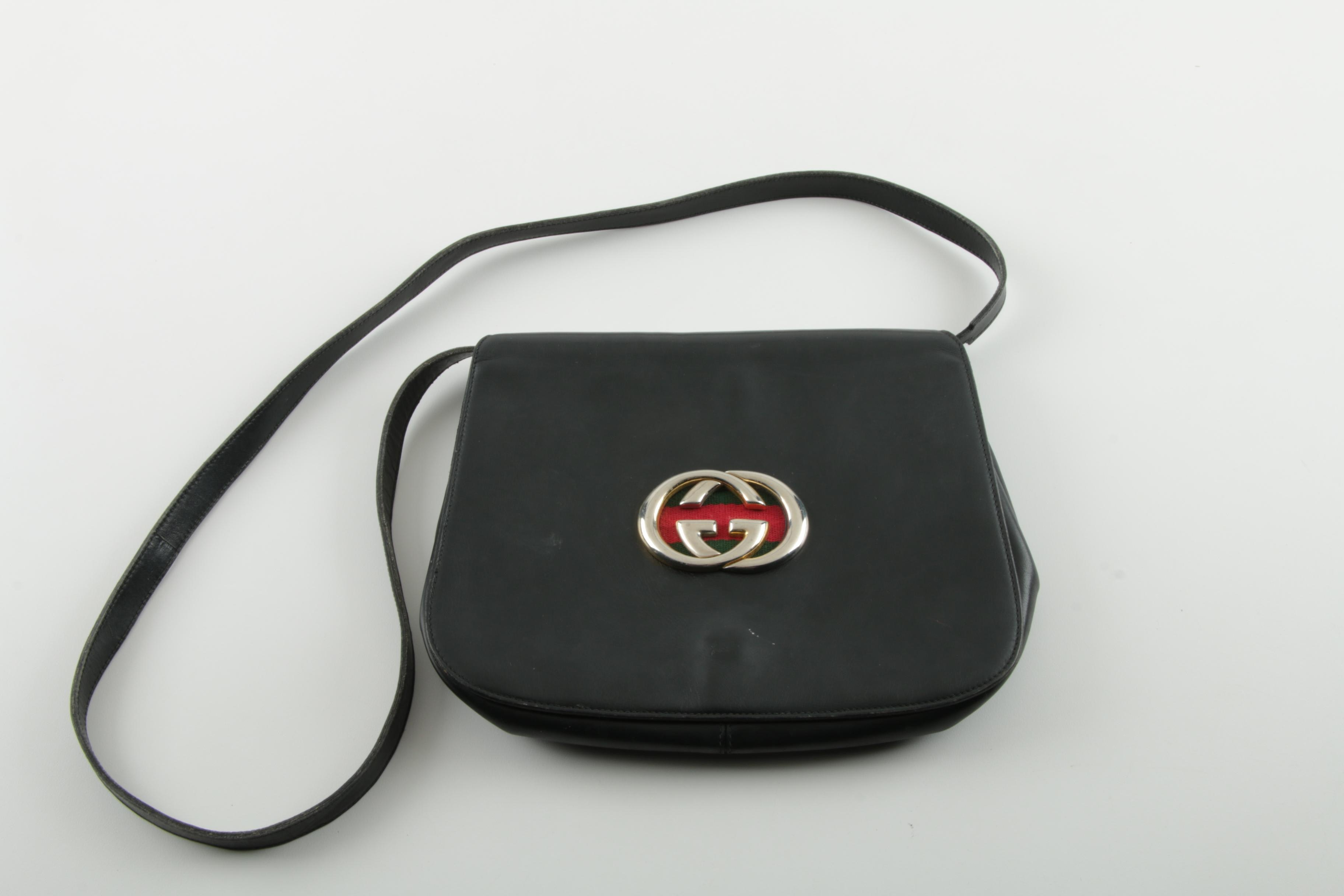 Vintage Gucci Black Leather Crossbody Bag