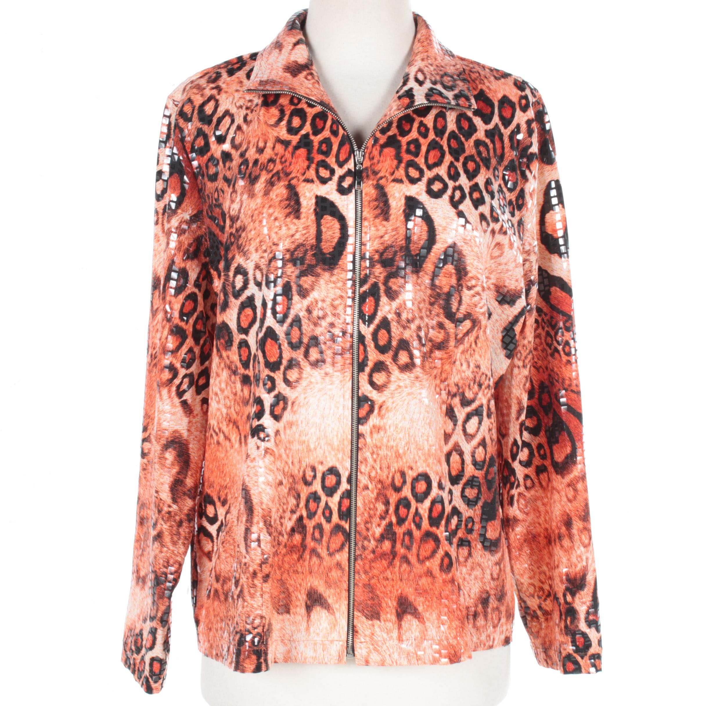 Exclusively Misook Embellished Animal Print Zipper Front Jacket