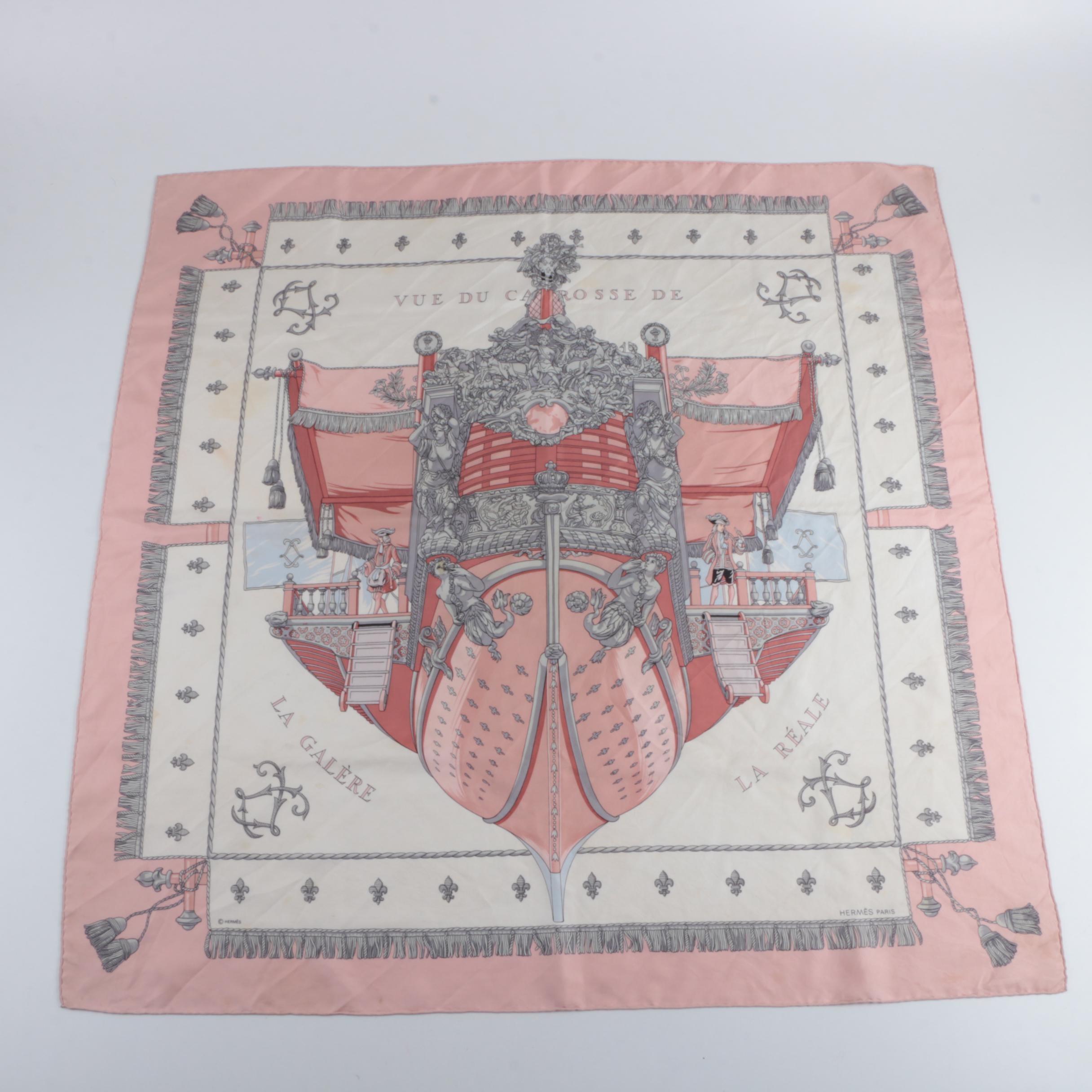"""Circa 1980s Vintage Hermès """"Vue Du Carrosse De La Galère La Réale"""" Silk Scarf"""