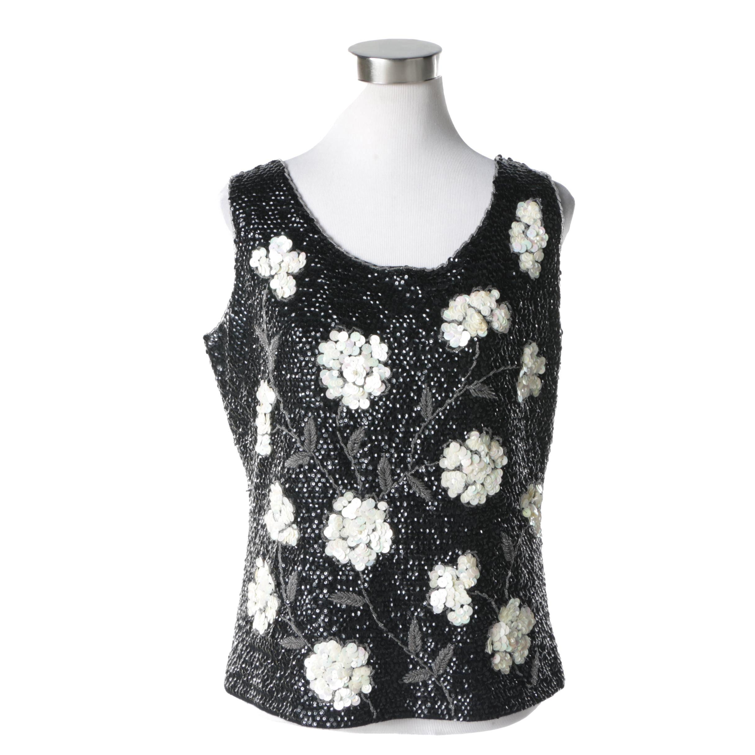 Vintage Floral Embellished Wool Shell Tank Top