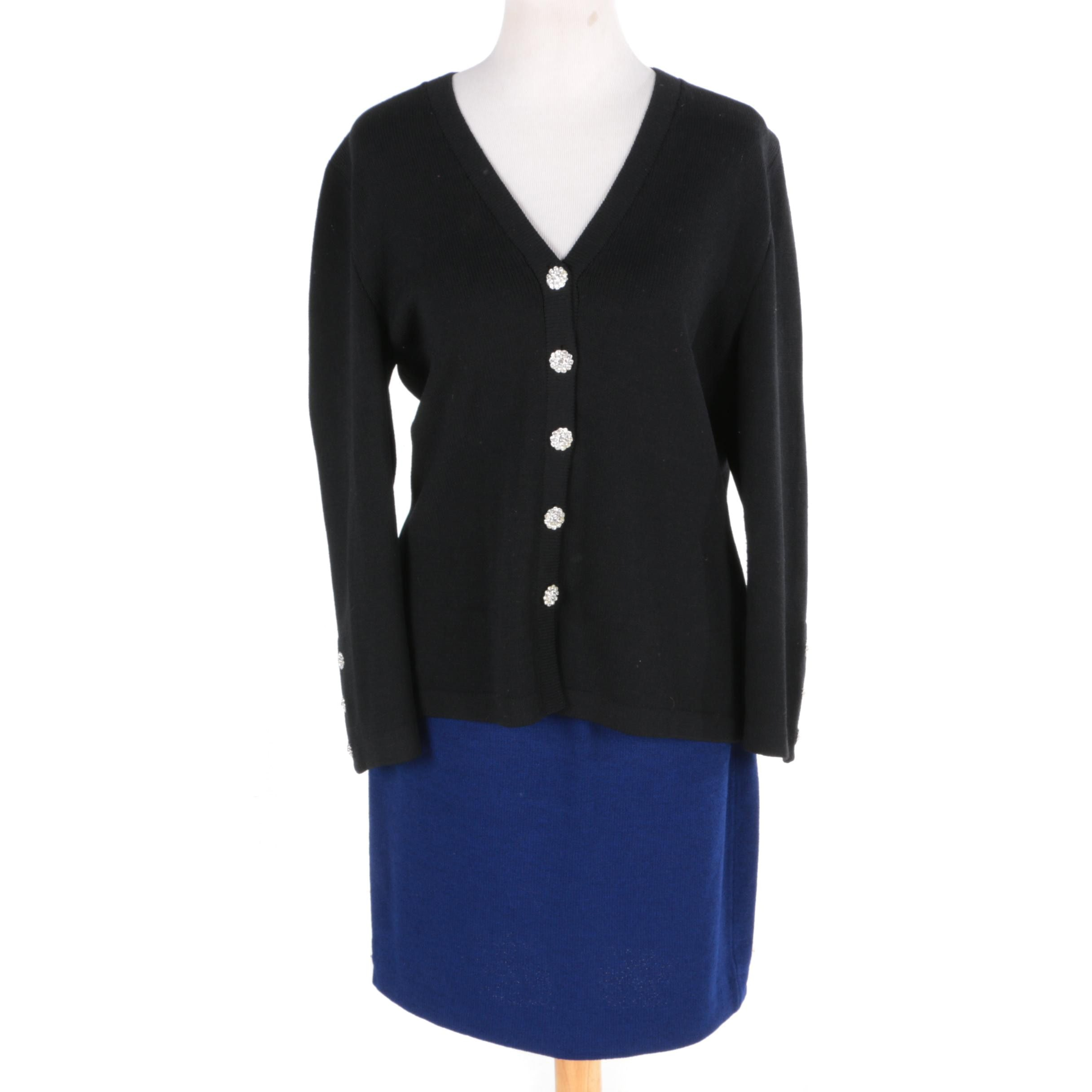 Women's St. John Brand Cardigan and Skirt