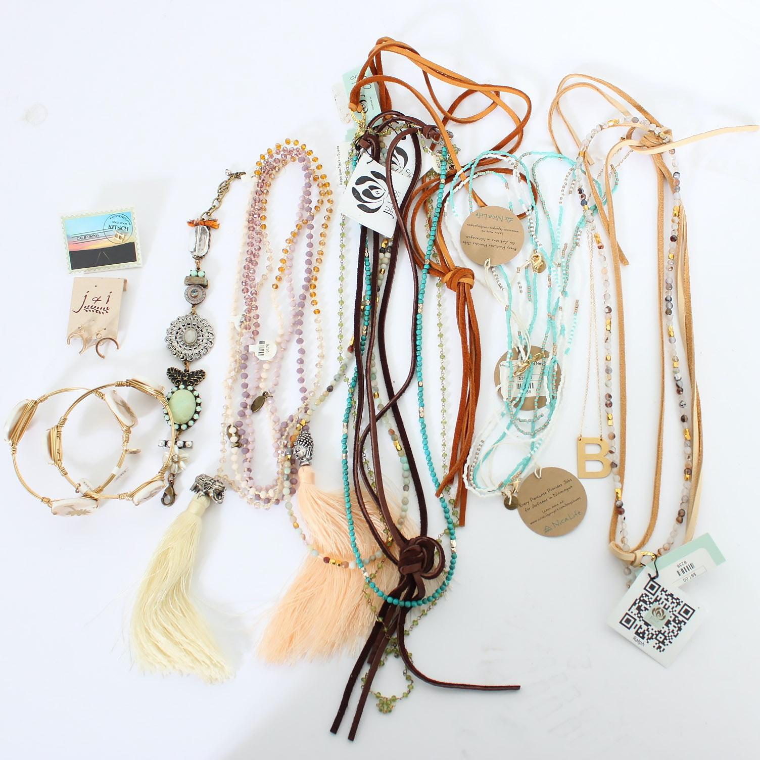 Beaded Neckaces, Bangles, and Earrings
