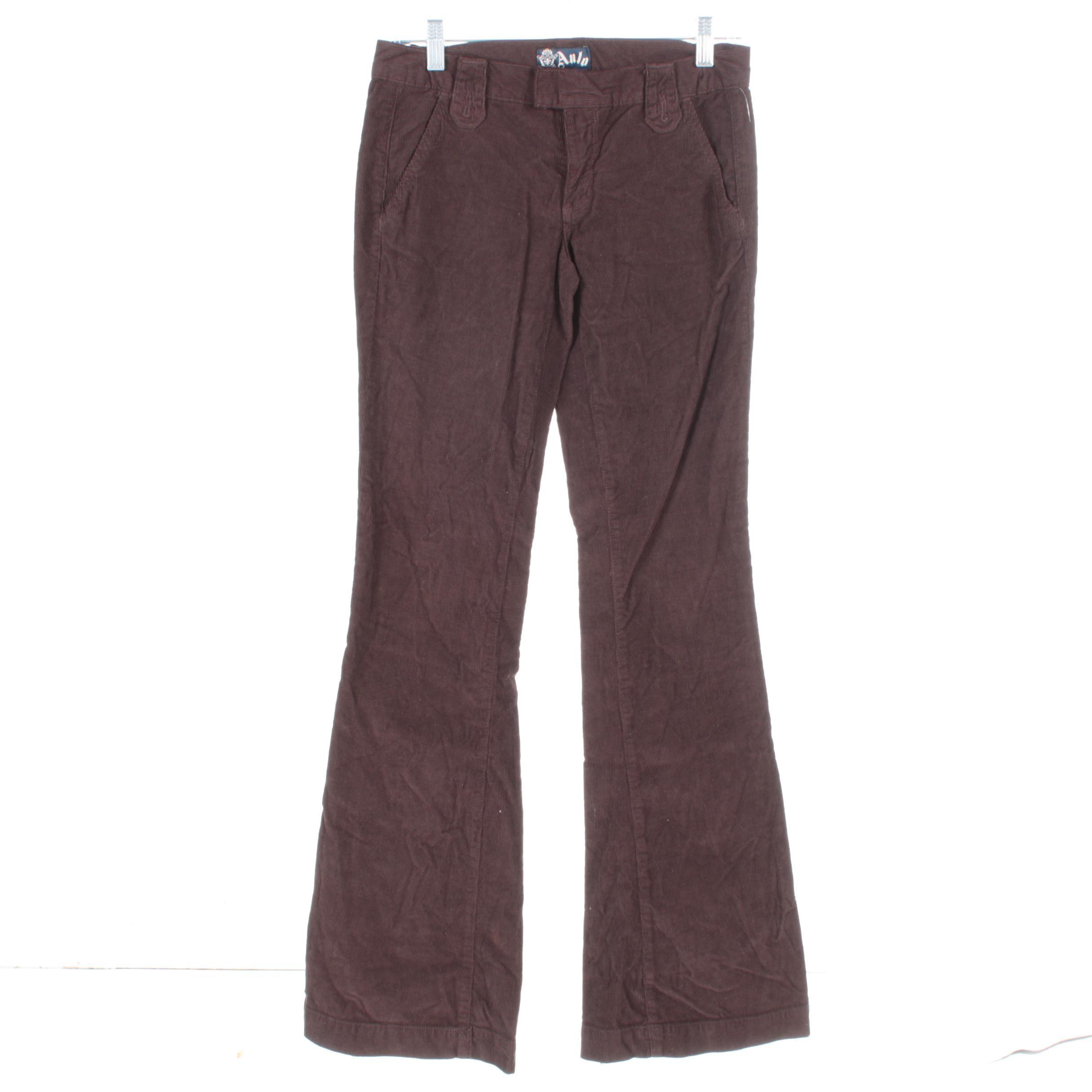 Women's Anlo Brown Corduroy Boot Cut Pants