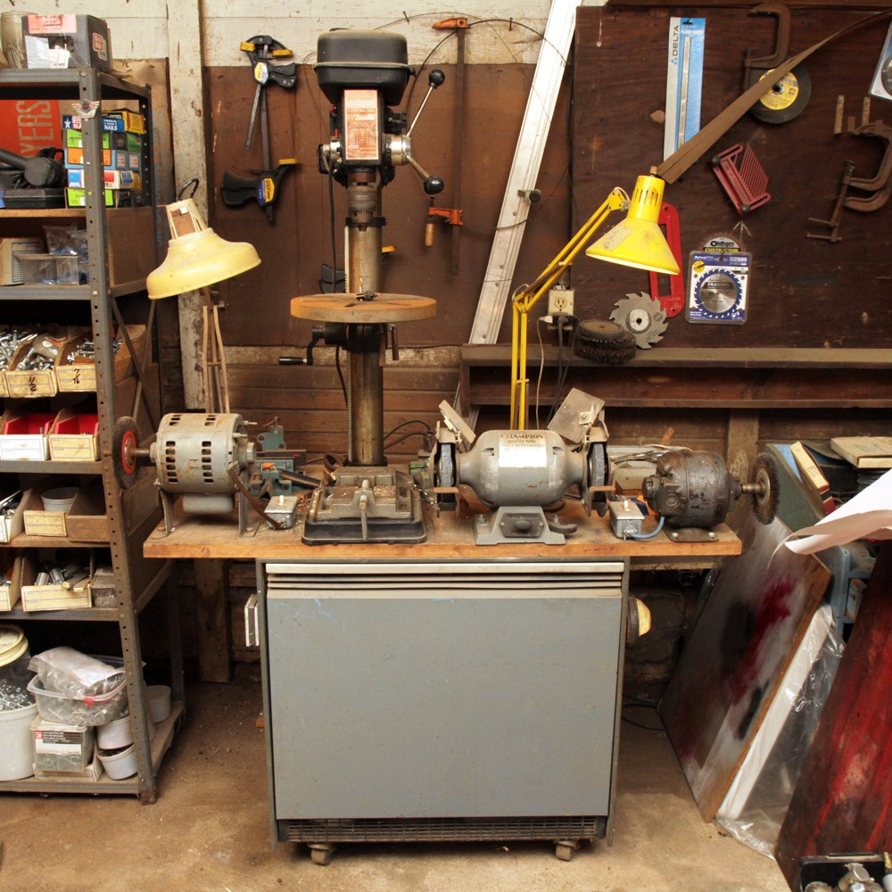 Cal-Hawk Drill Press with Three Grinders, Table and Two Lights