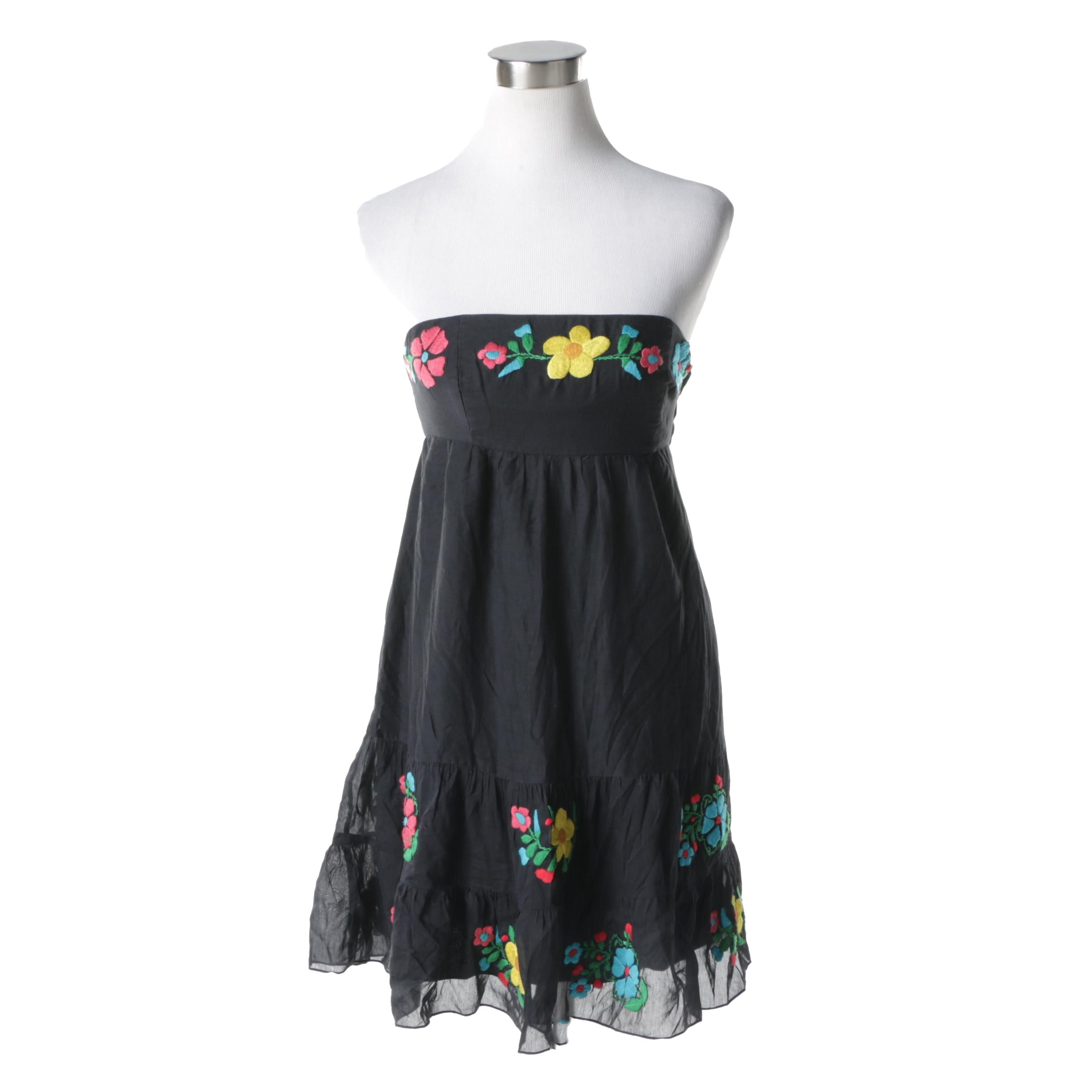 Tibi New York Embroidered Strapless Dress