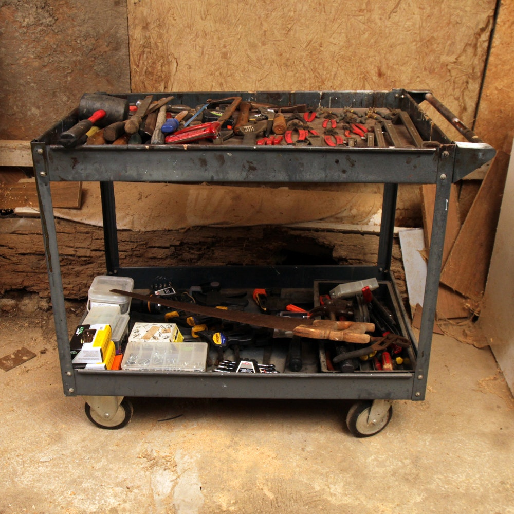 Industrial Cart with an Assortment of Tools