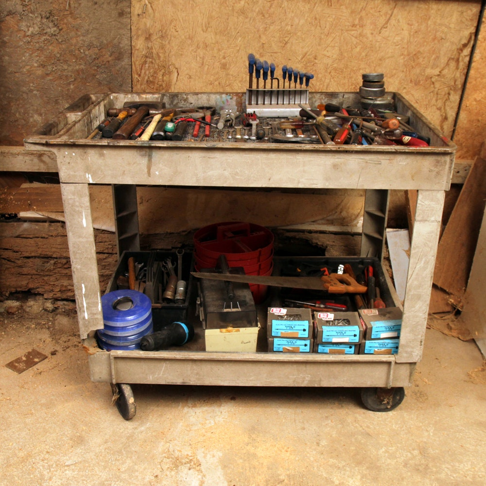 Large Tool Assortment and Industrial Cart