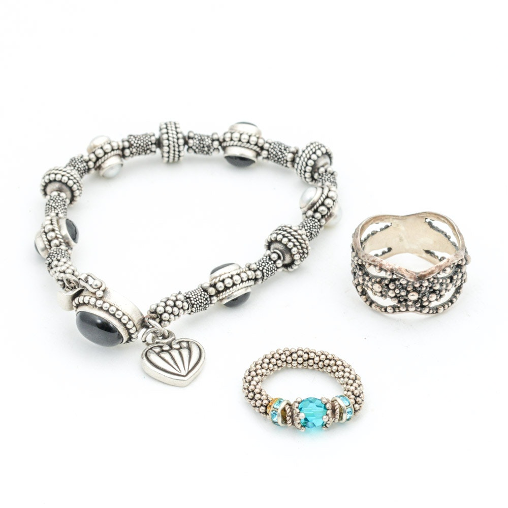 Sterling Silver Rings and Bracelet Featuring Pearl and Onyx