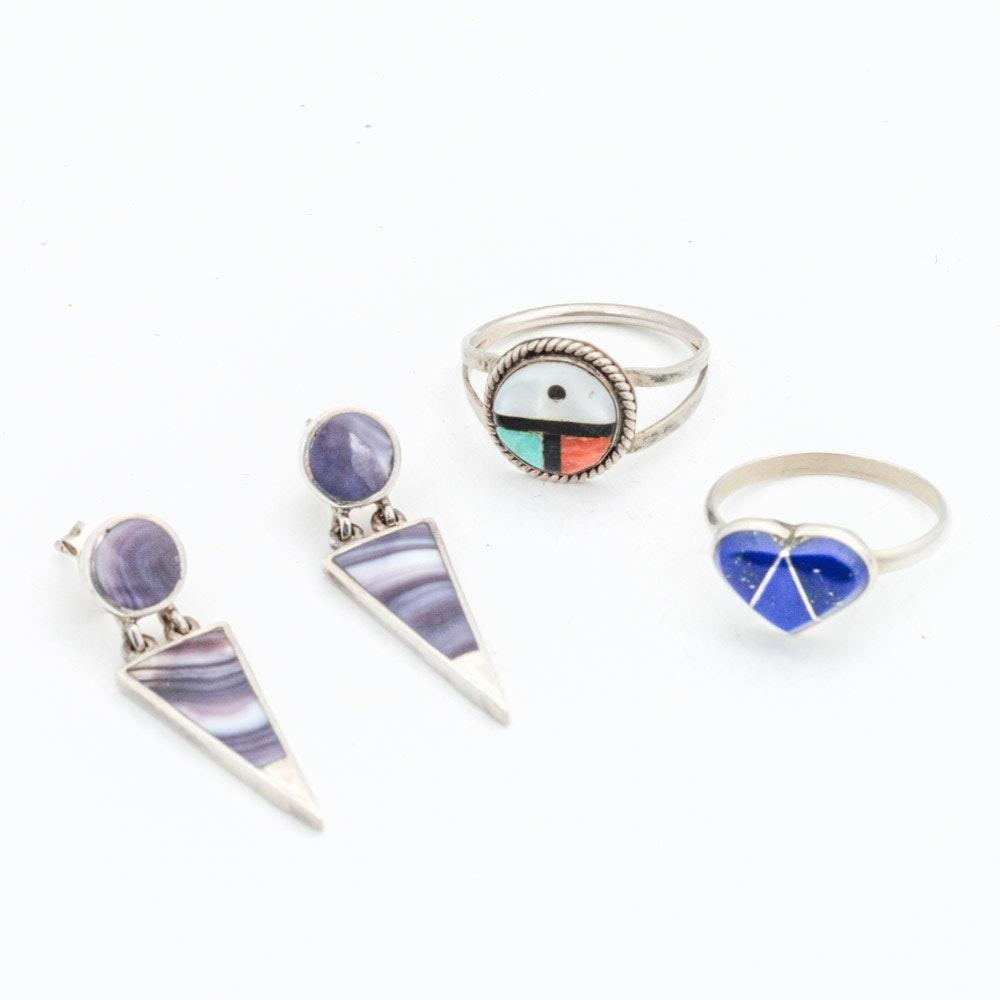 Sterling Silver Multi Gemstone Rings and Earrings